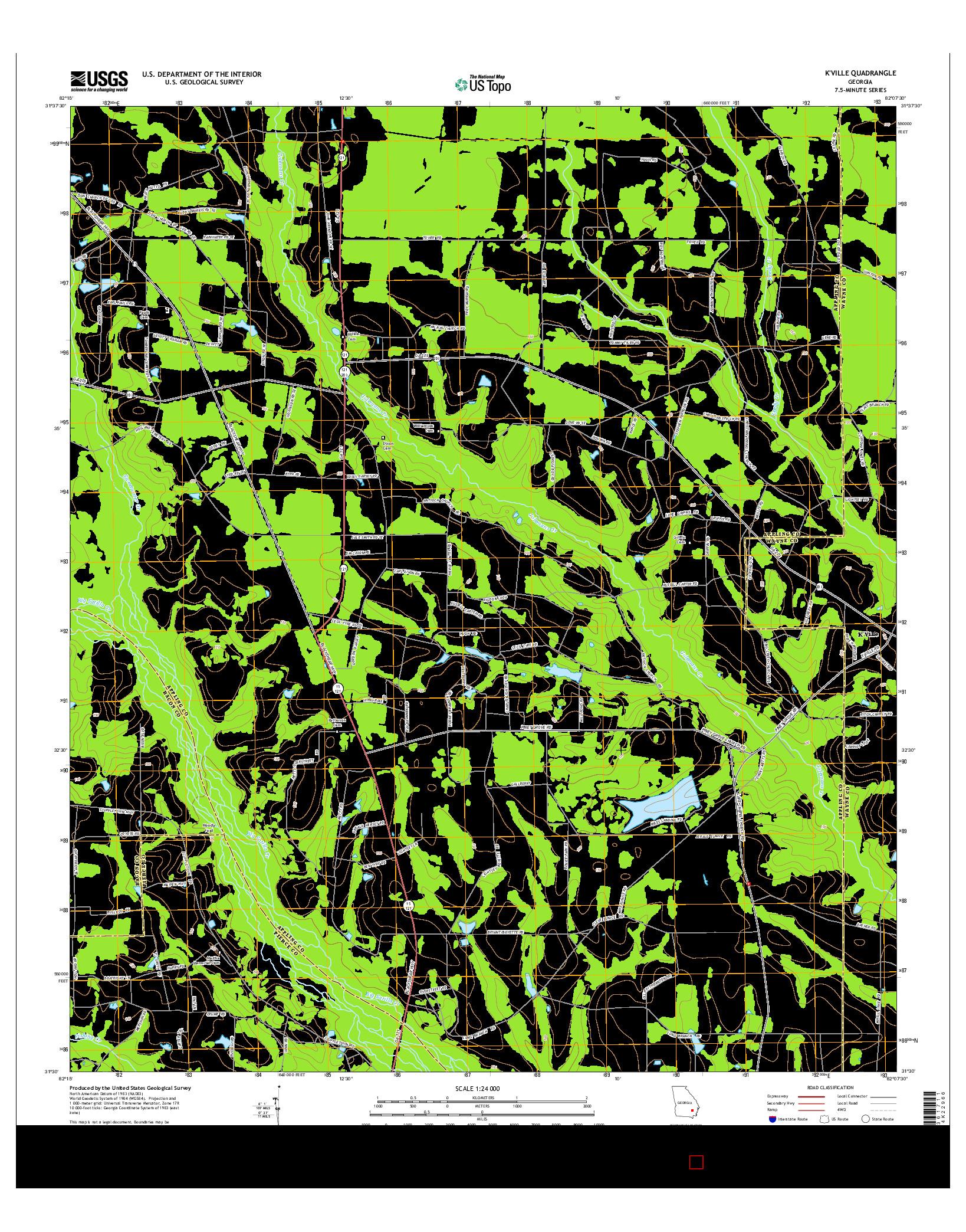 USGS US TOPO 7.5-MINUTE MAP FOR K'VILLE, GA 2014