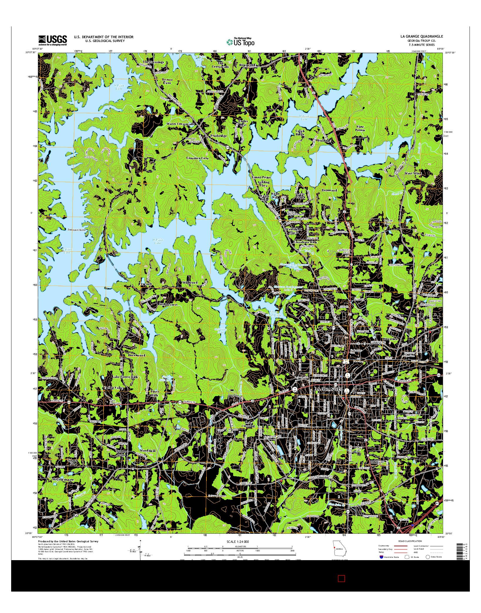 USGS US TOPO 7.5-MINUTE MAP FOR LA GRANGE, GA 2014