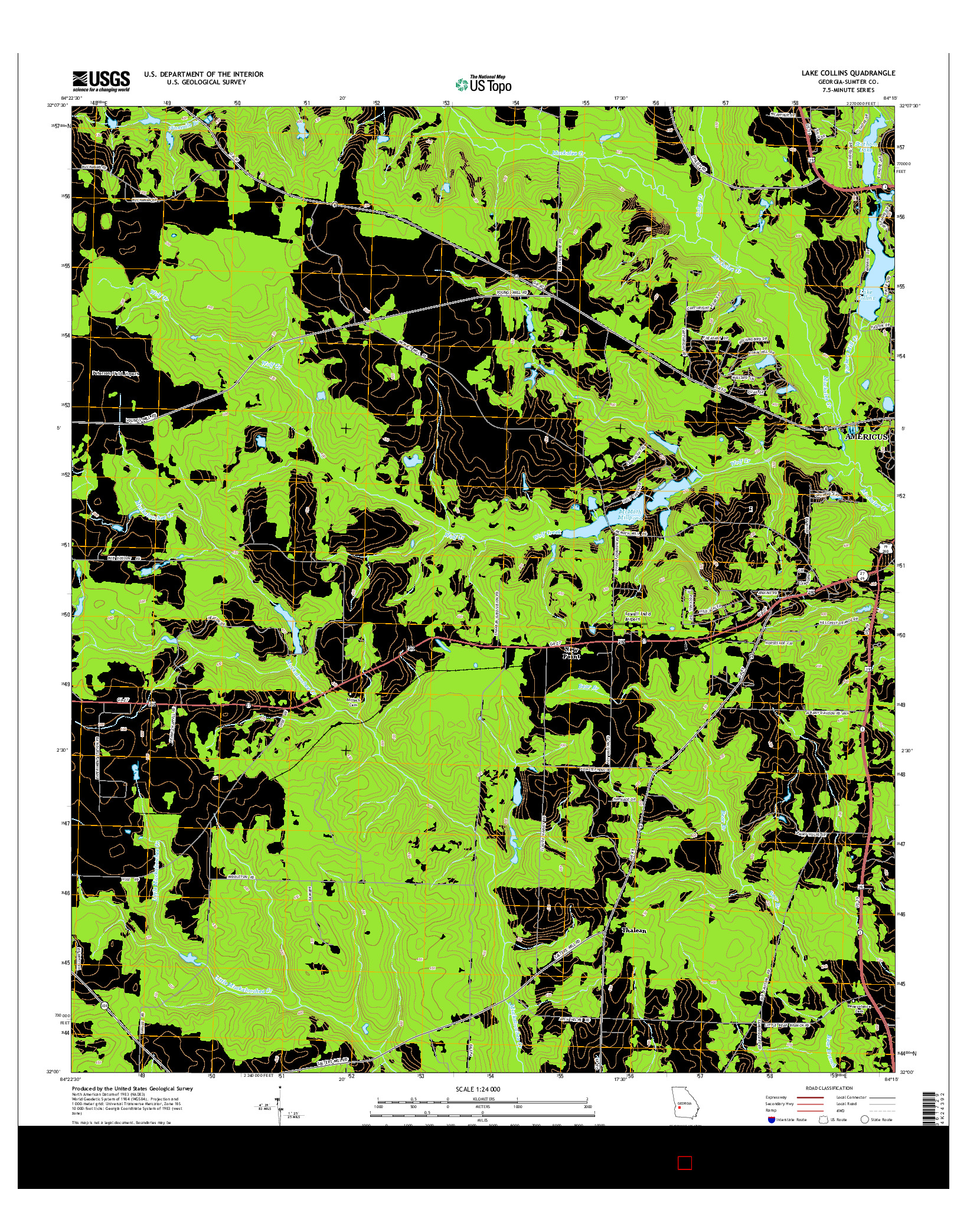 USGS US TOPO 7.5-MINUTE MAP FOR LAKE COLLINS, GA 2014
