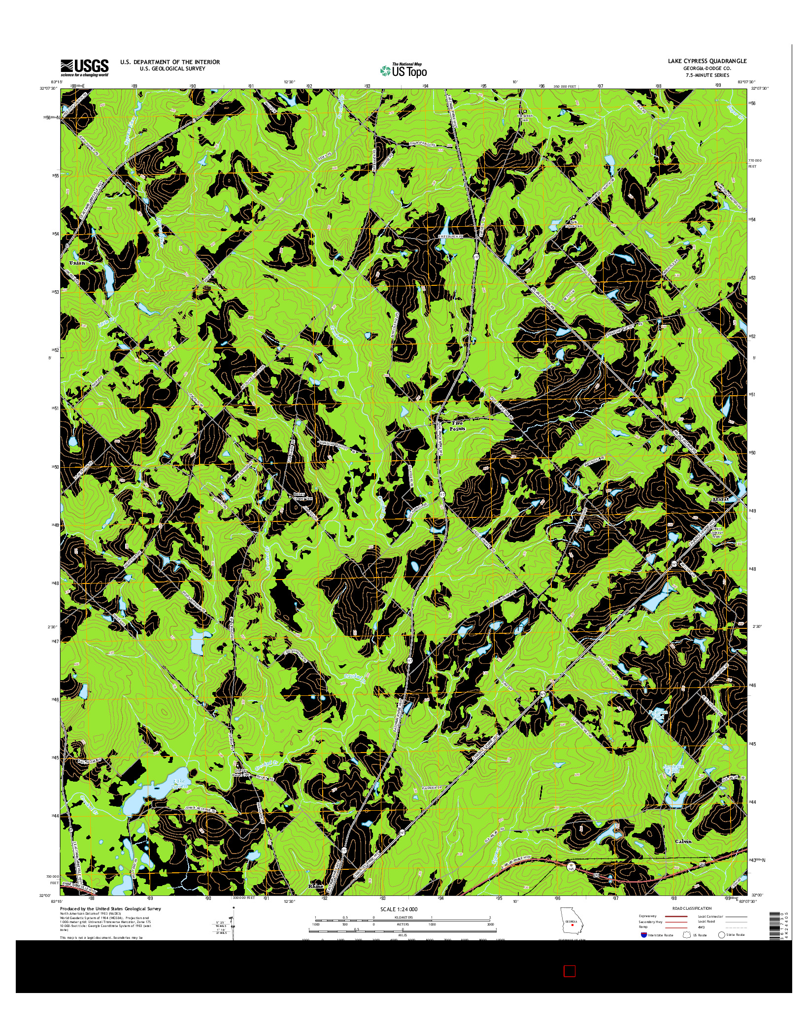 USGS US TOPO 7.5-MINUTE MAP FOR LAKE CYPRESS, GA 2014