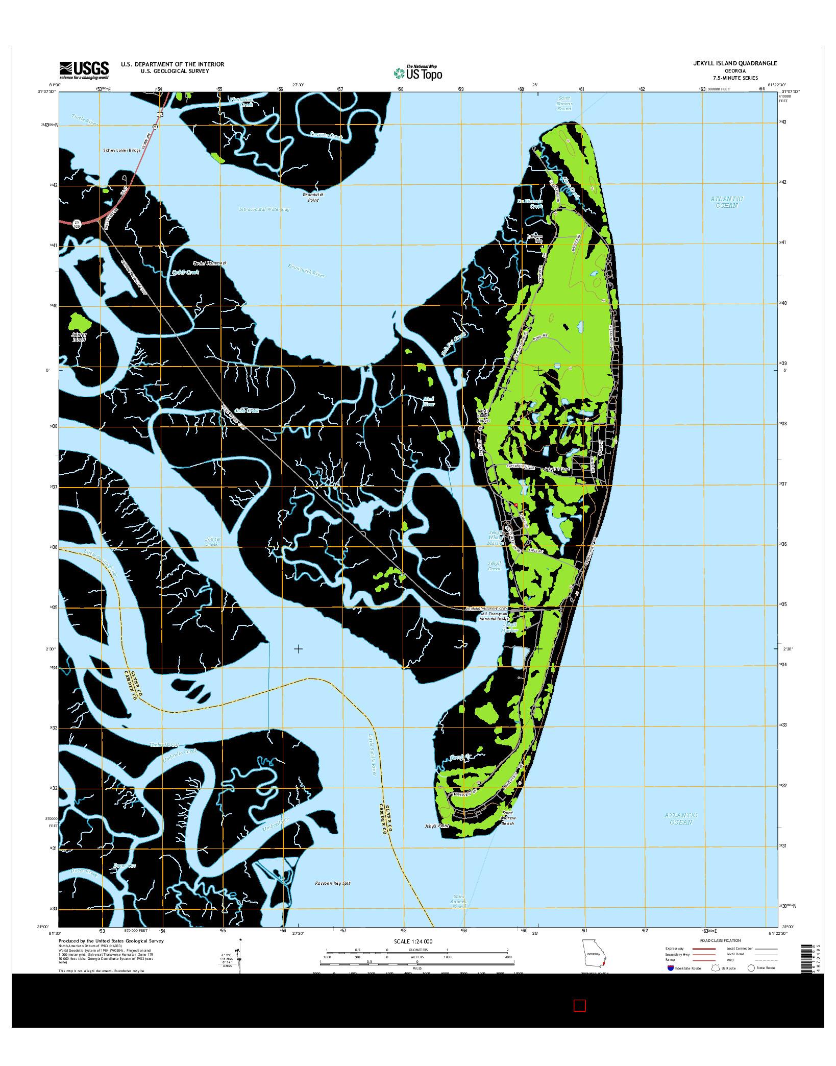 USGS US TOPO 7.5-MINUTE MAP FOR JEKYLL ISLAND, GA 2014