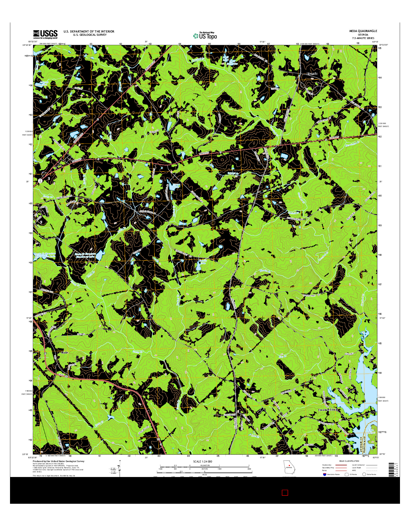USGS US TOPO 7.5-MINUTE MAP FOR MEDA, GA 2014