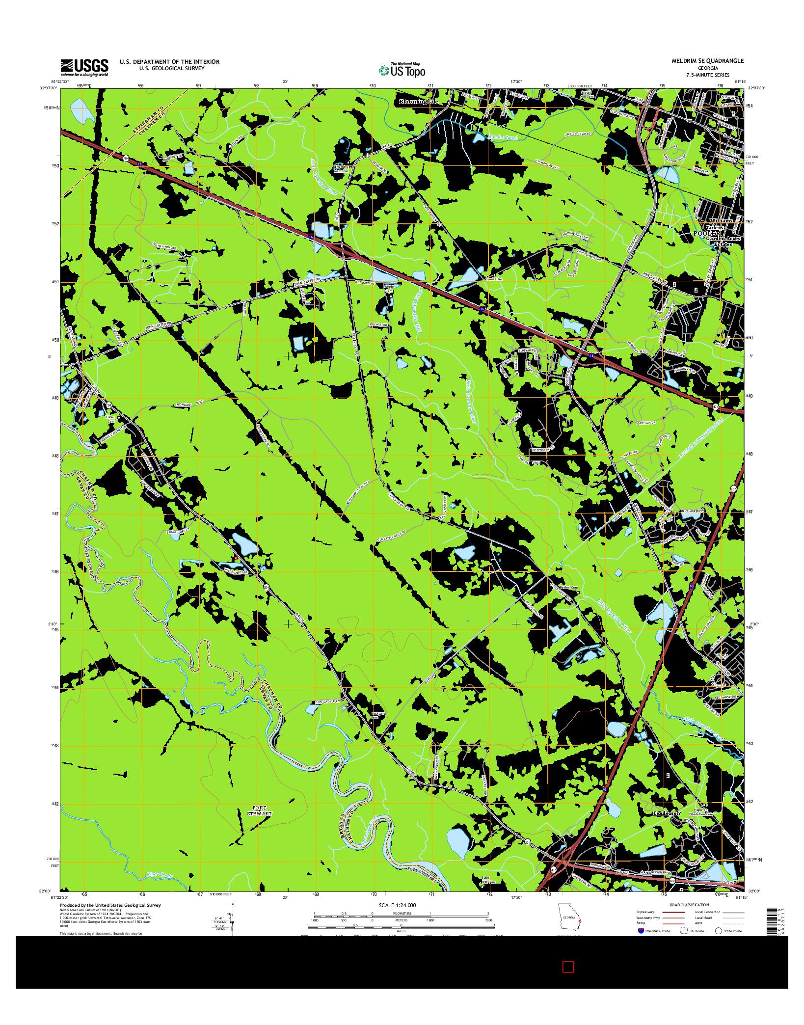 USGS US TOPO 7.5-MINUTE MAP FOR MELDRIM SE, GA 2014
