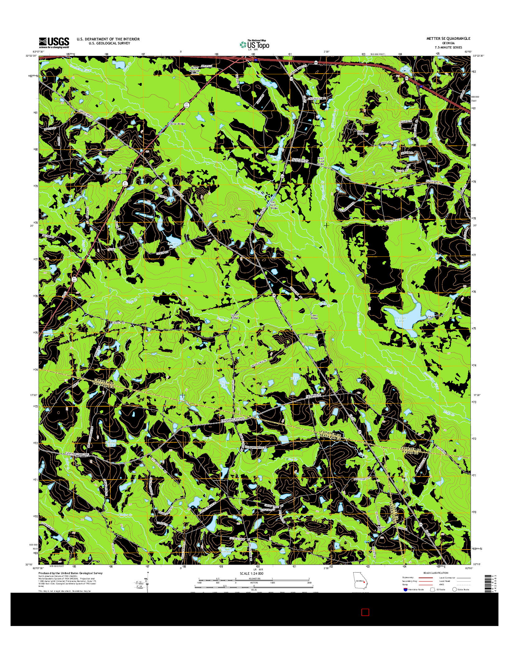 USGS US TOPO 7.5-MINUTE MAP FOR METTER SE, GA 2014