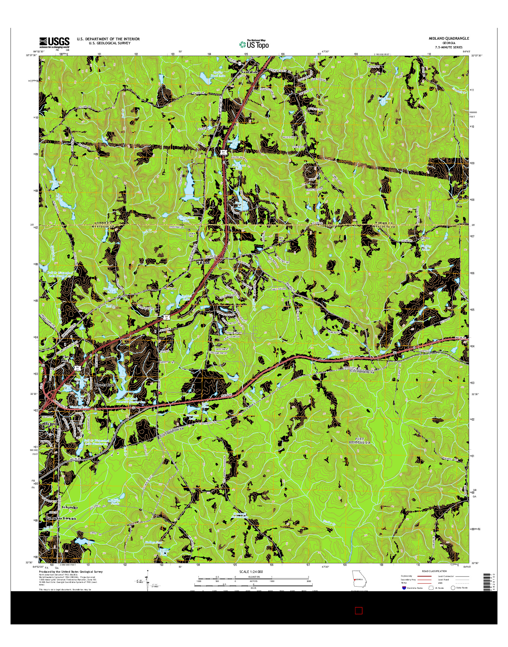 USGS US TOPO 7.5-MINUTE MAP FOR MIDLAND, GA 2014