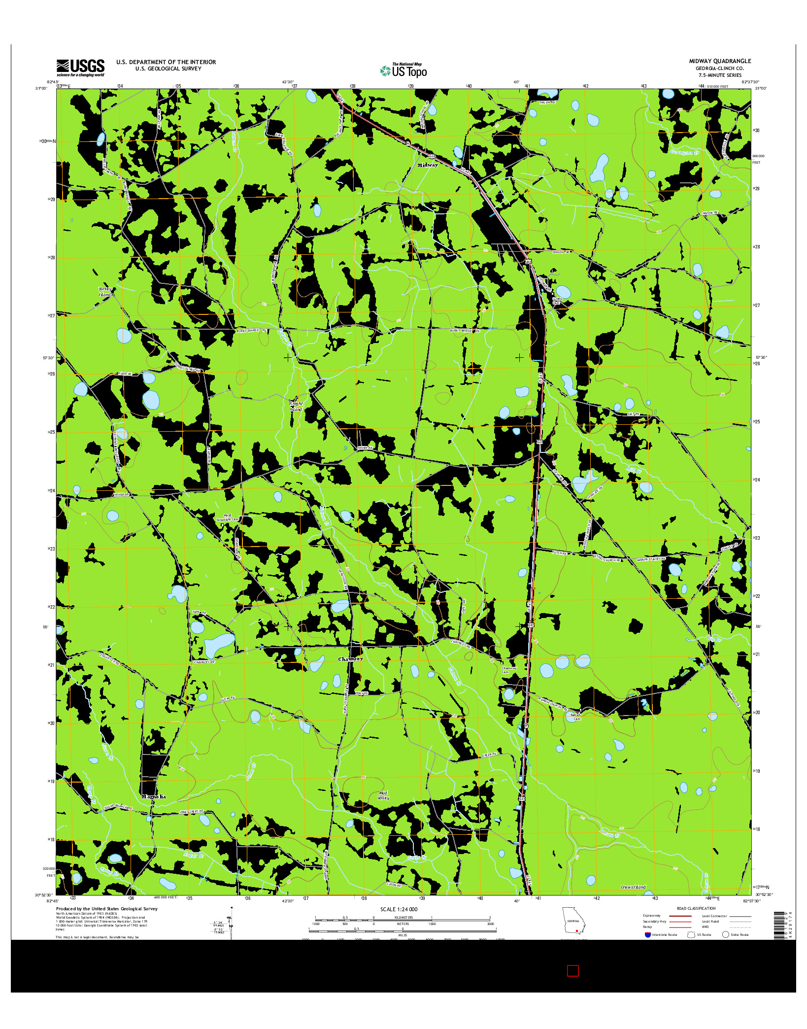 USGS US TOPO 7.5-MINUTE MAP FOR MIDWAY, GA 2014