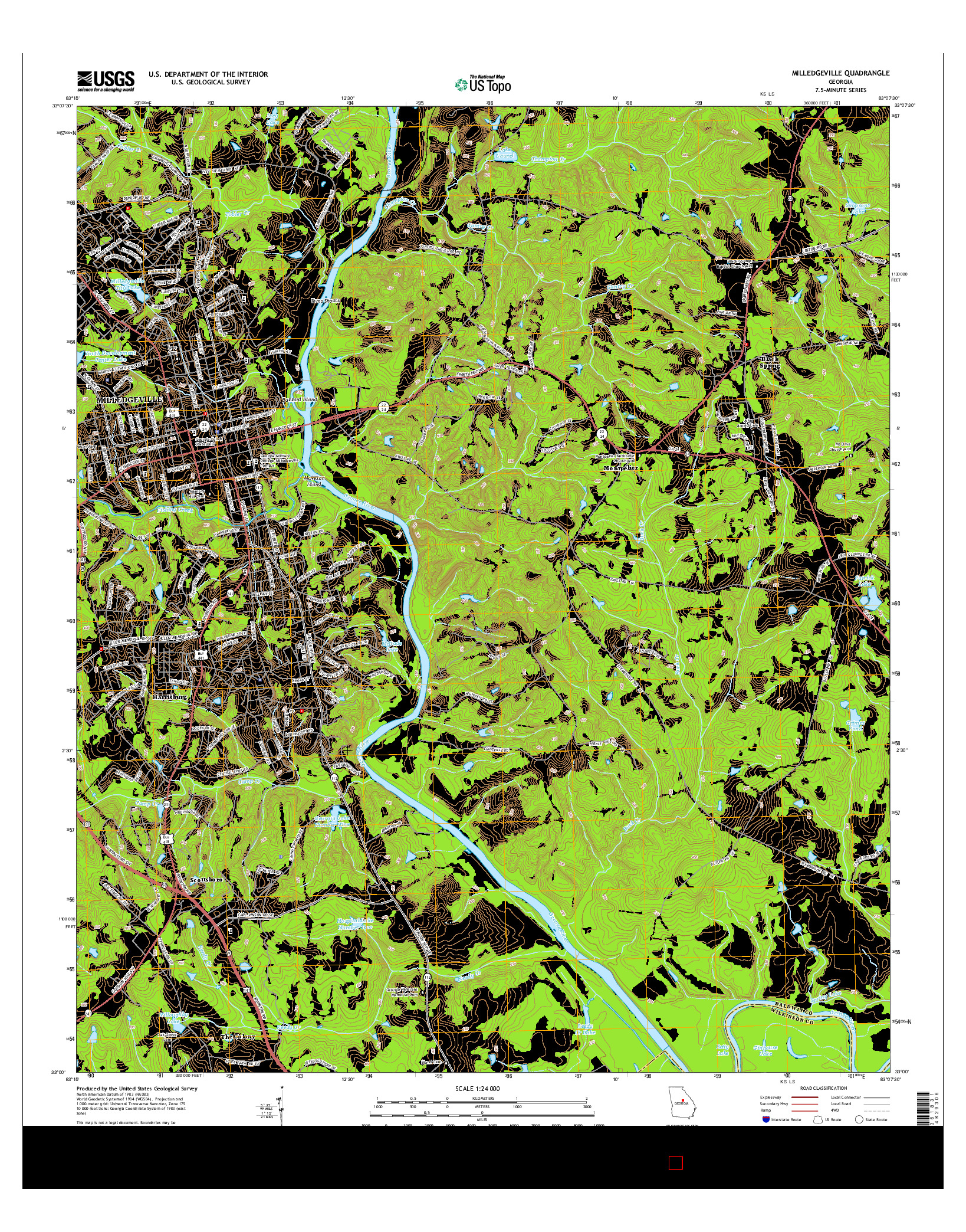 USGS US TOPO 7.5-MINUTE MAP FOR MILLEDGEVILLE, GA 2014