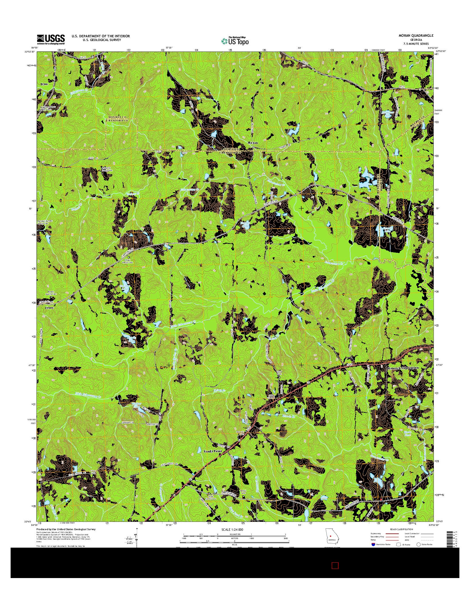 USGS US TOPO 7.5-MINUTE MAP FOR MORAN, GA 2014