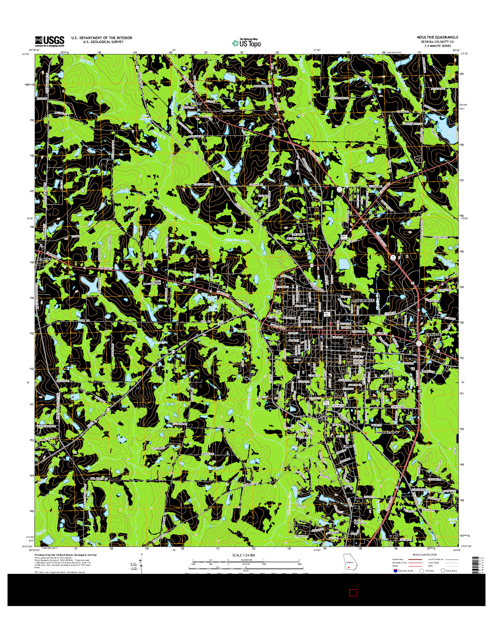 USGS US TOPO 7.5-MINUTE MAP FOR MOULTRIE, GA 2014