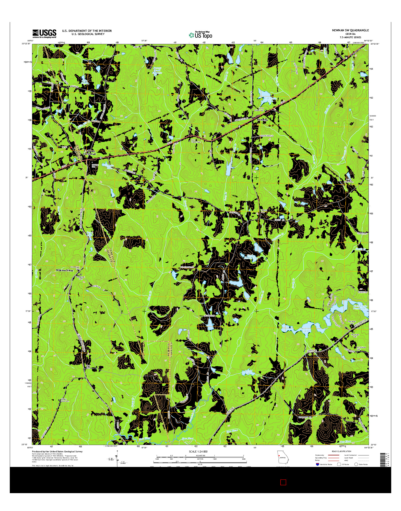 USGS US TOPO 7.5-MINUTE MAP FOR NEWNAN SW, GA 2014