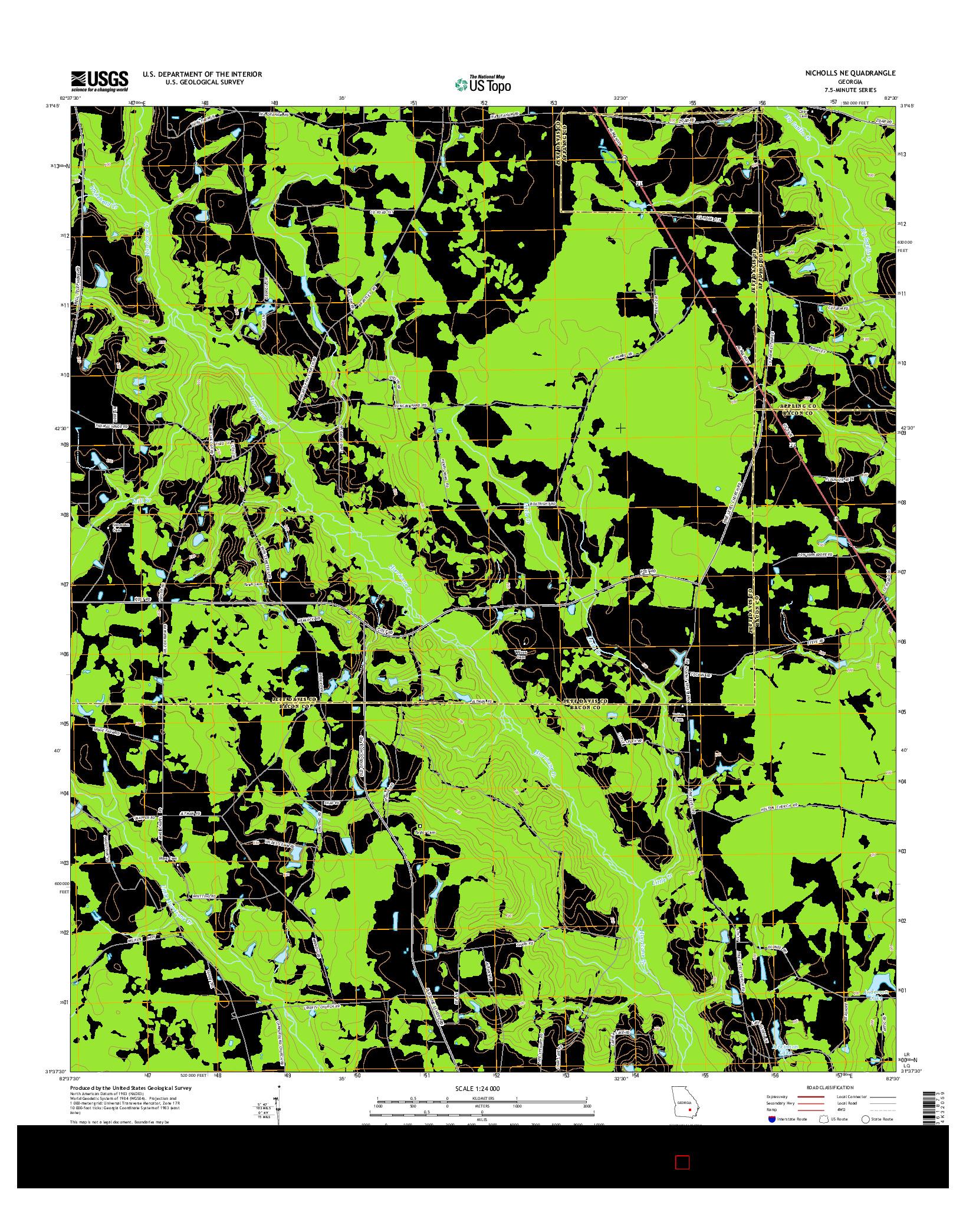 USGS US TOPO 7.5-MINUTE MAP FOR NICHOLLS NE, GA 2014