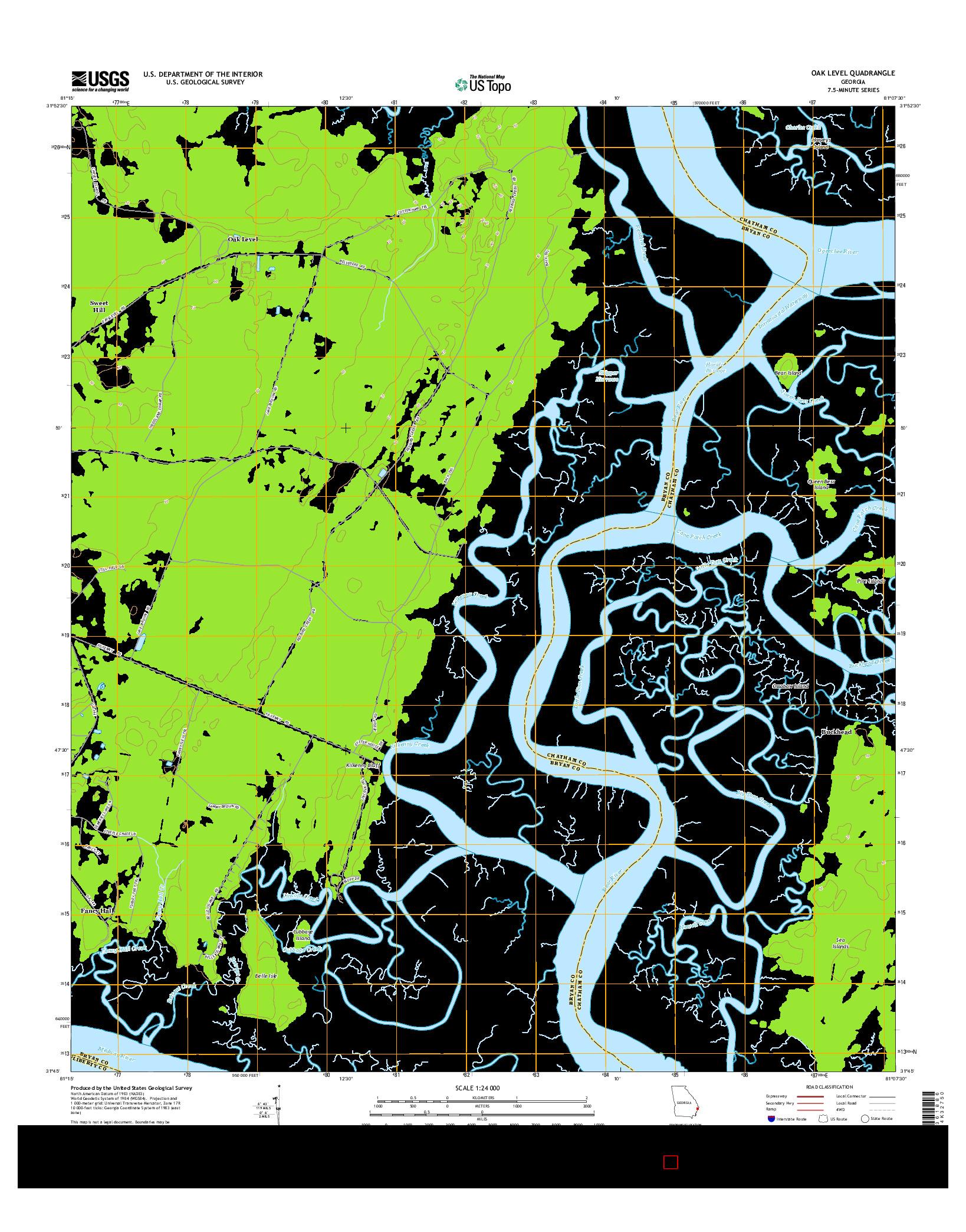 USGS US TOPO 7.5-MINUTE MAP FOR OAK LEVEL, GA 2014