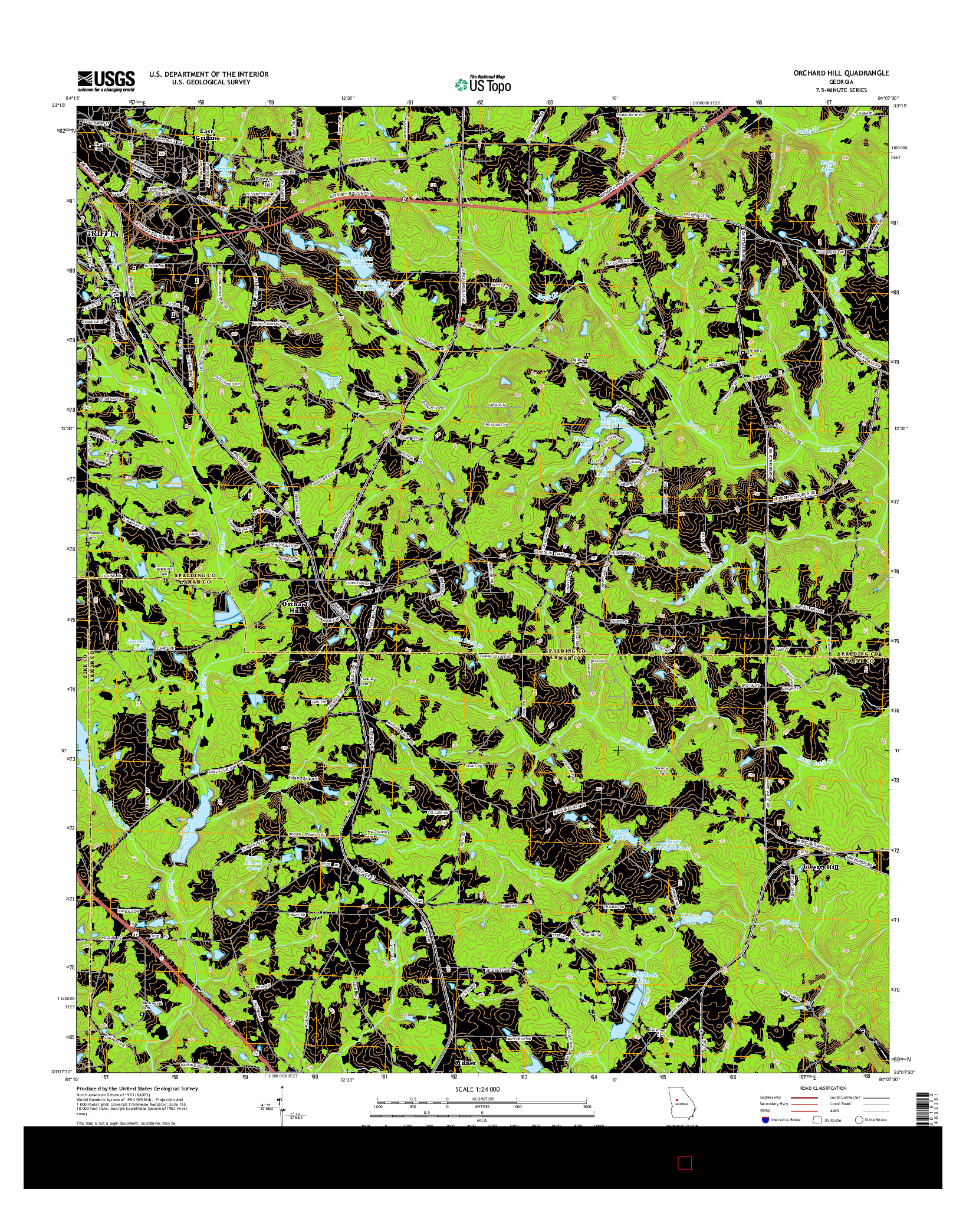 USGS US TOPO 7.5-MINUTE MAP FOR ORCHARD HILL, GA 2014