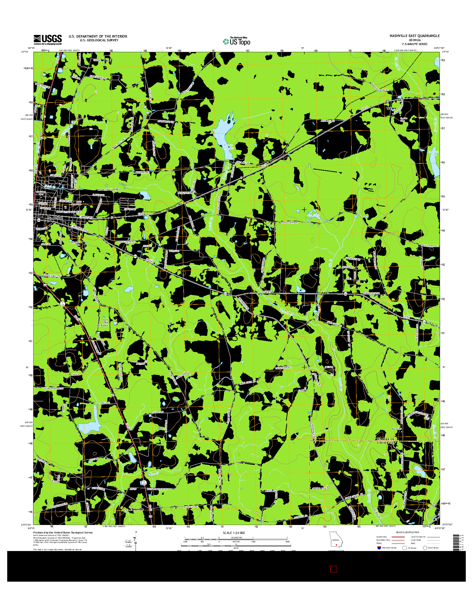 USGS US TOPO 7.5-MINUTE MAP FOR NASHVILLE EAST, GA 2014