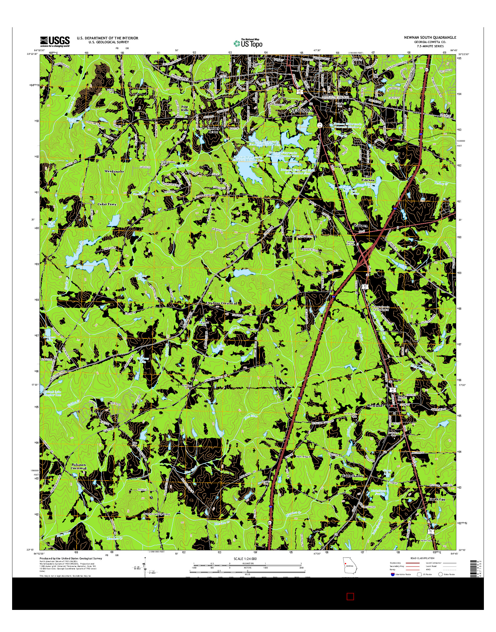 USGS US TOPO 7.5-MINUTE MAP FOR NEWNAN SOUTH, GA 2014