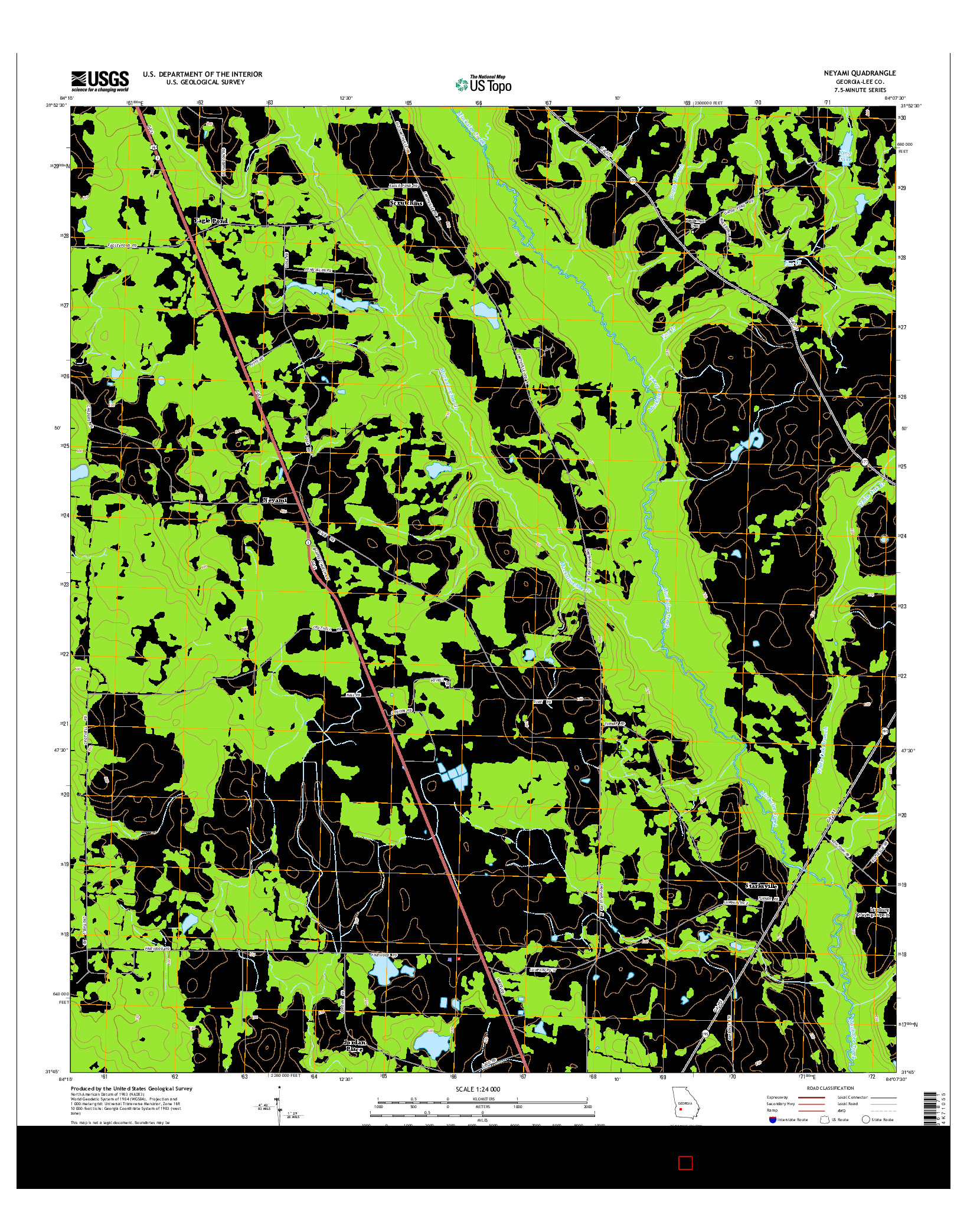 USGS US TOPO 7.5-MINUTE MAP FOR NEYAMI, GA 2014