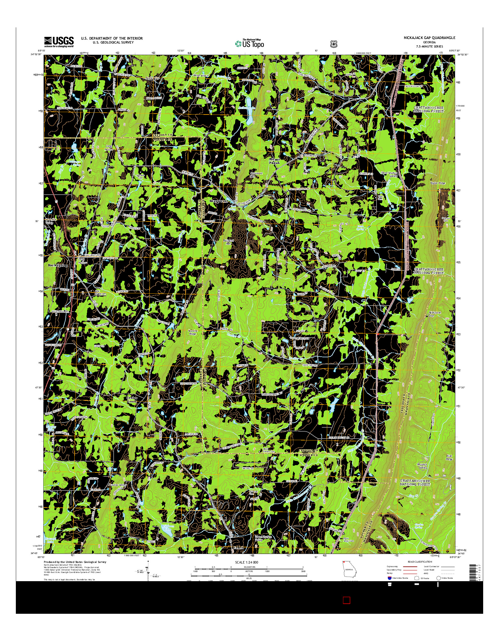 USGS US TOPO 7.5-MINUTE MAP FOR NICKAJACK GAP, GA 2014