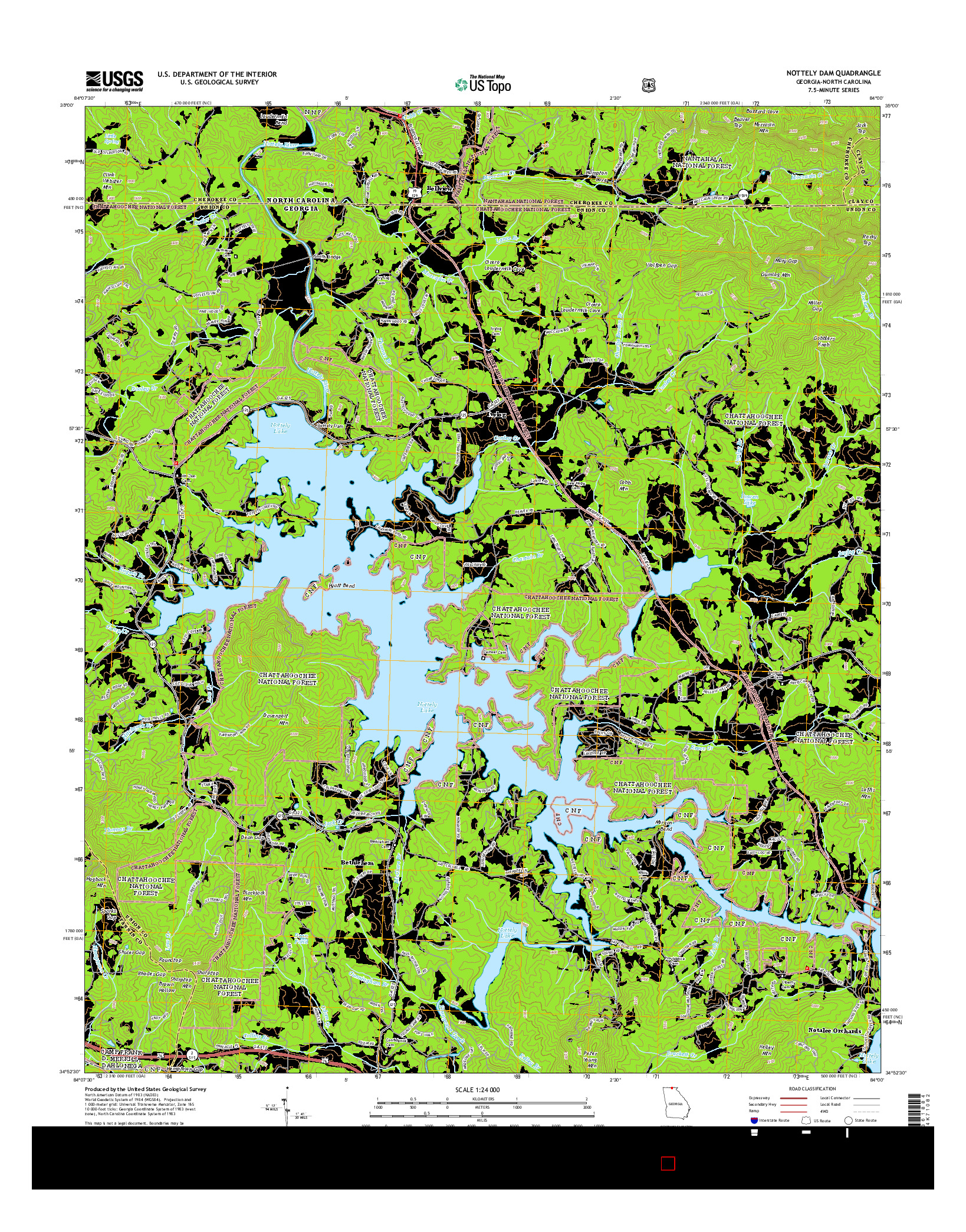 USGS US TOPO 7.5-MINUTE MAP FOR NOTTELY DAM, GA-NC 2014