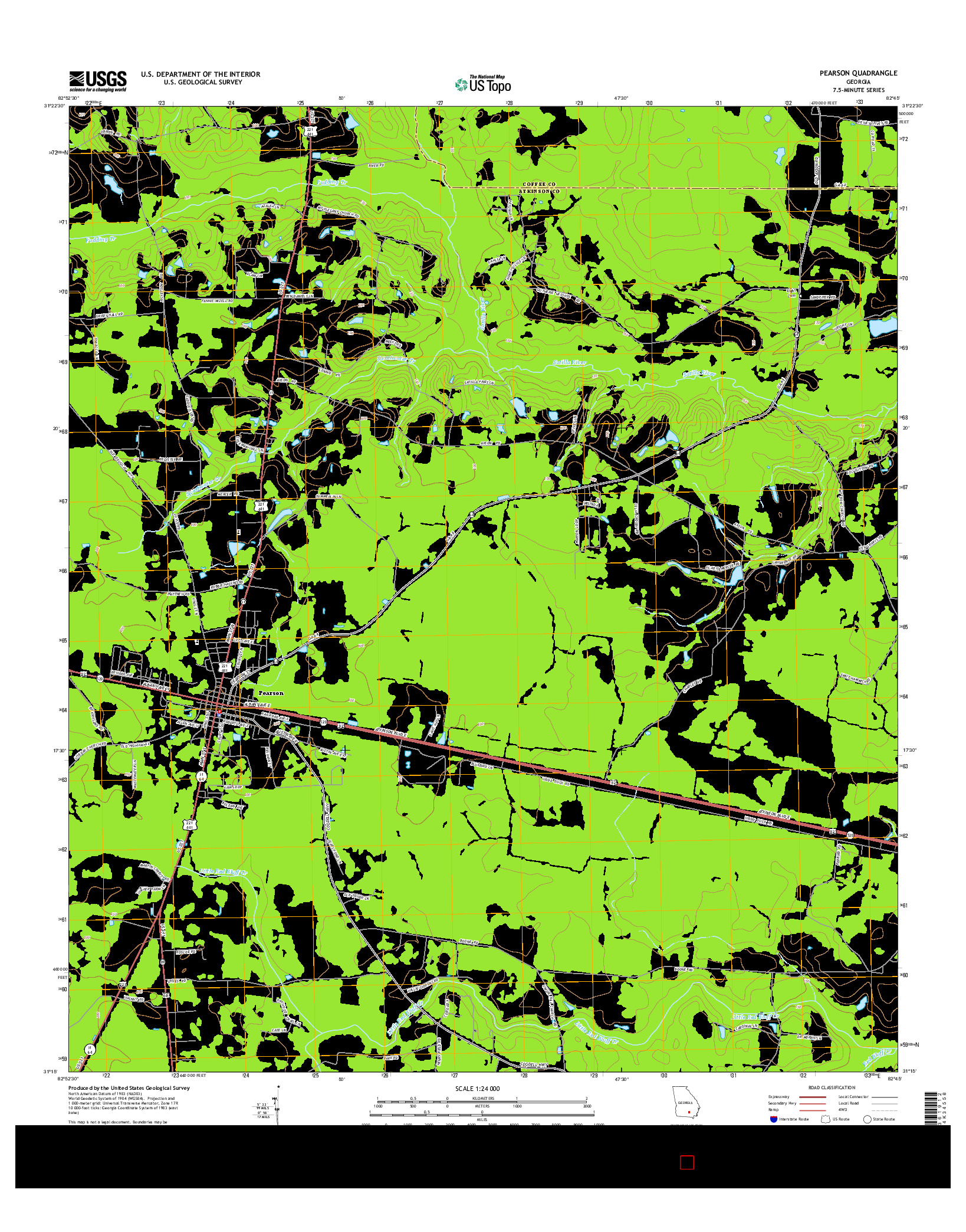 USGS US TOPO 7.5-MINUTE MAP FOR PEARSON, GA 2014