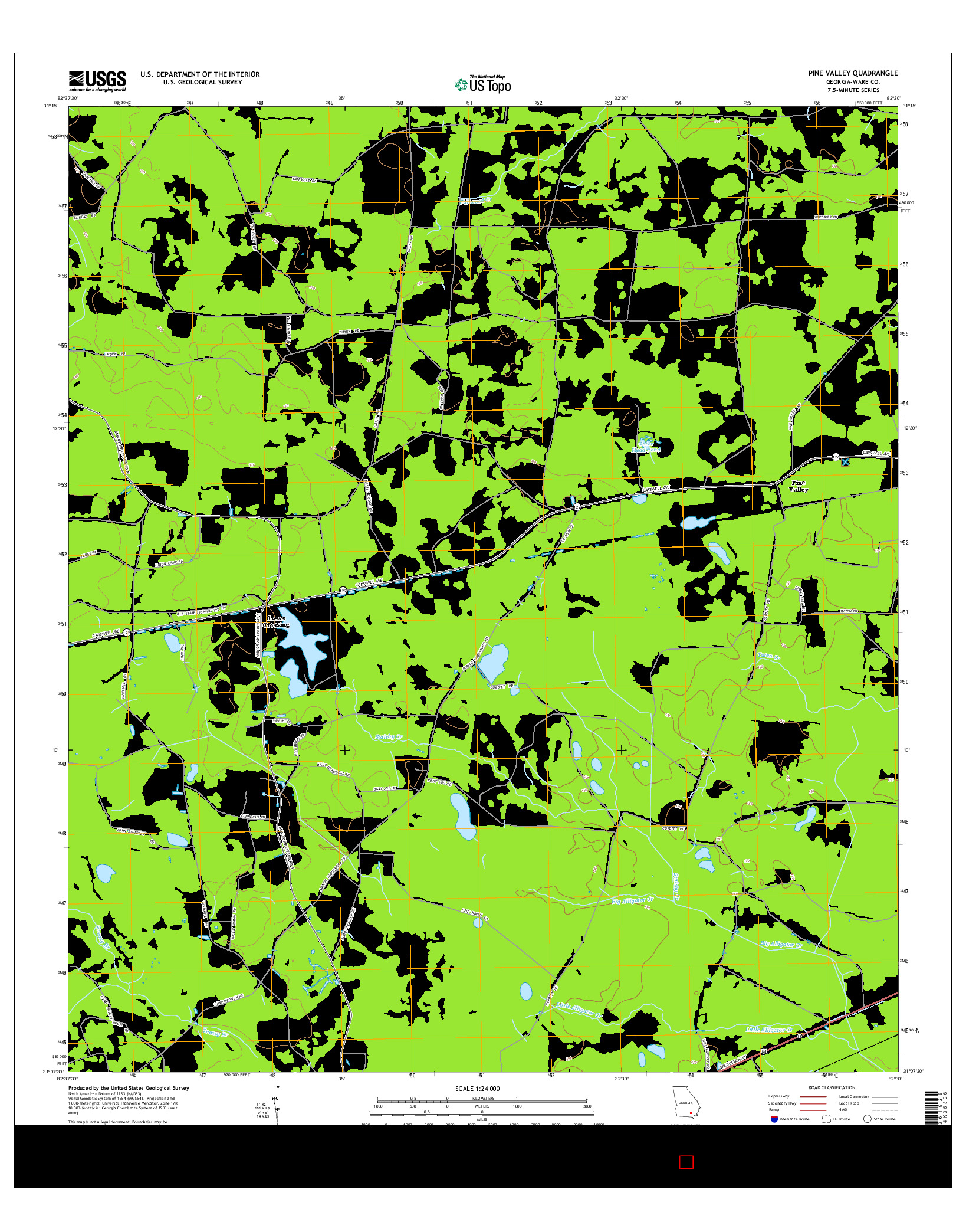 USGS US TOPO 7.5-MINUTE MAP FOR PINE VALLEY, GA 2014