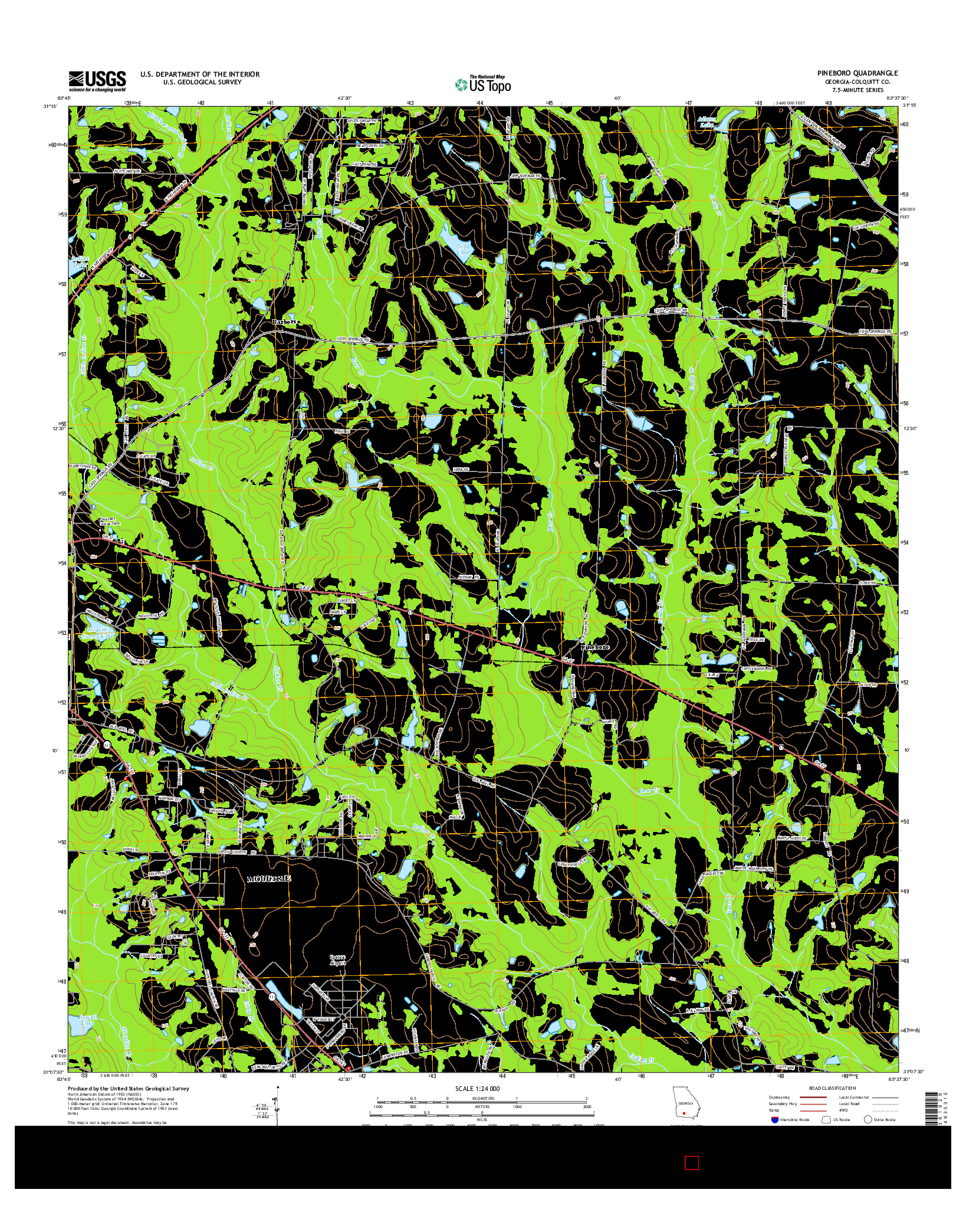 USGS US TOPO 7.5-MINUTE MAP FOR PINEBORO, GA 2014