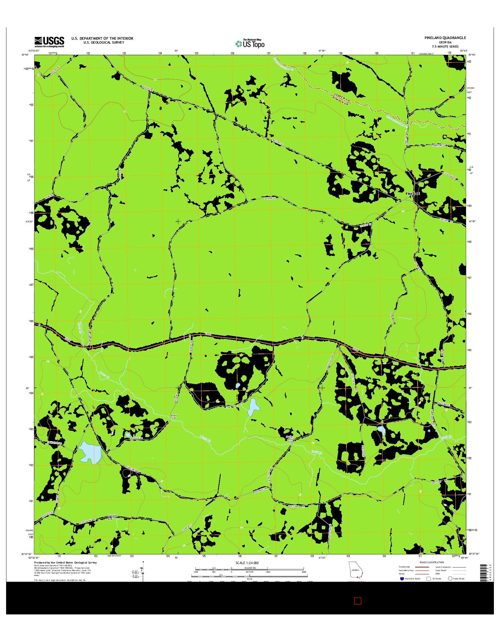 USGS US TOPO 7.5-MINUTE MAP FOR PINELAND, GA 2014