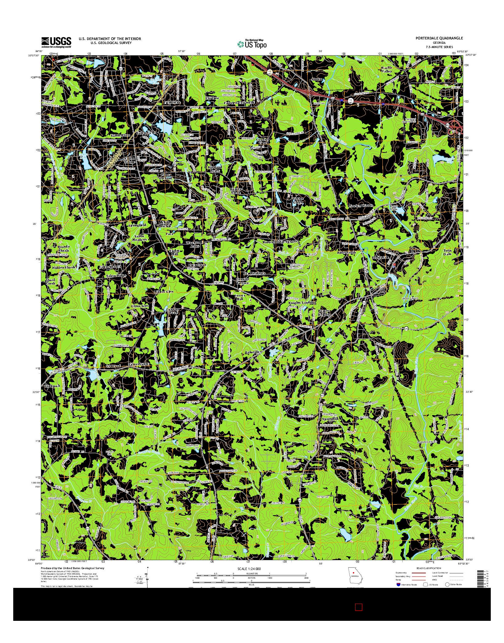 USGS US TOPO 7.5-MINUTE MAP FOR PORTERDALE, GA 2014