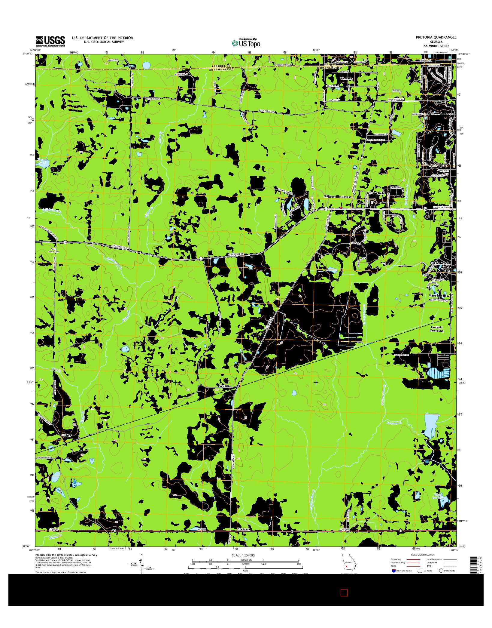 USGS US TOPO 7.5-MINUTE MAP FOR PRETORIA, GA 2014