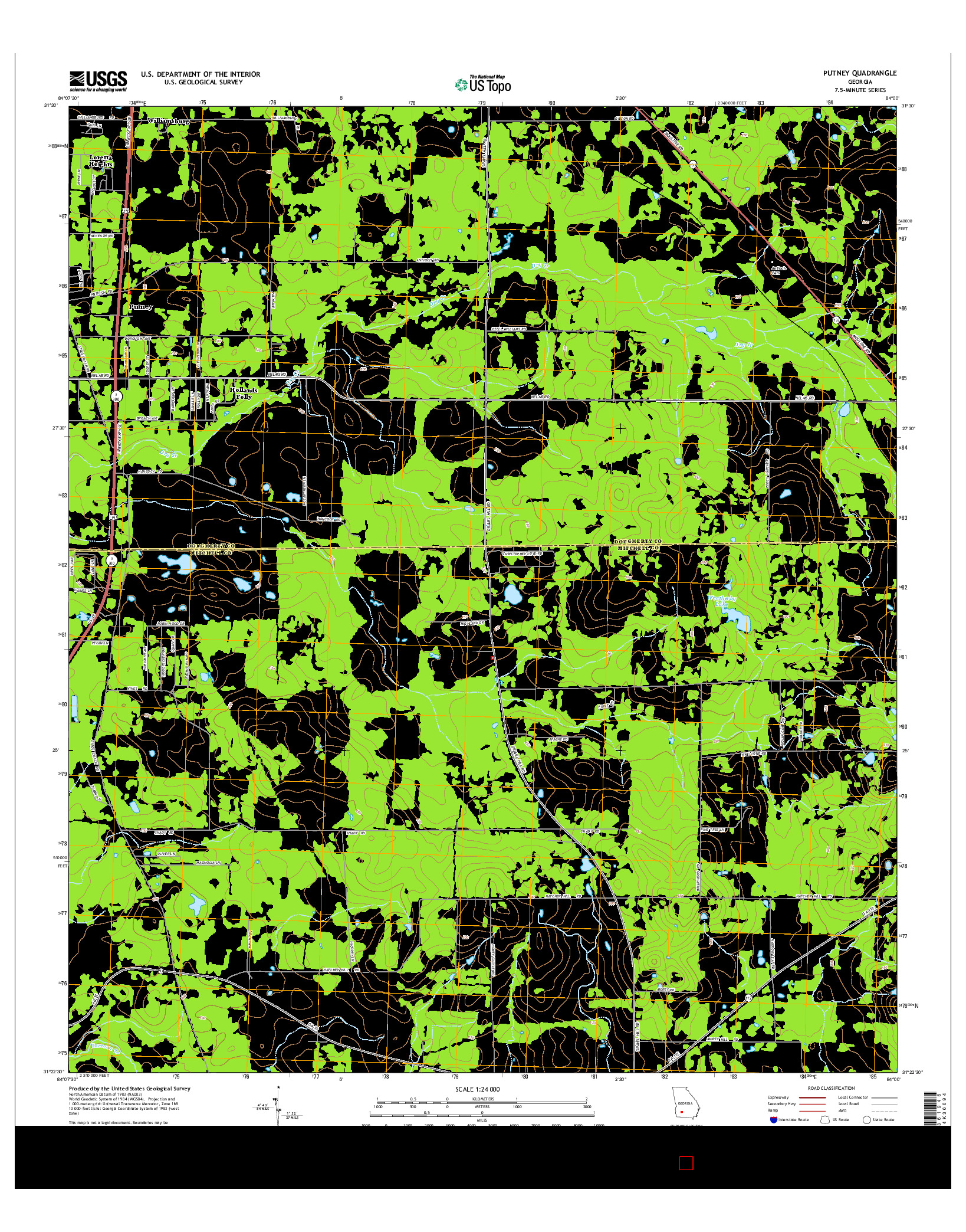 USGS US TOPO 7.5-MINUTE MAP FOR PUTNEY, GA 2014