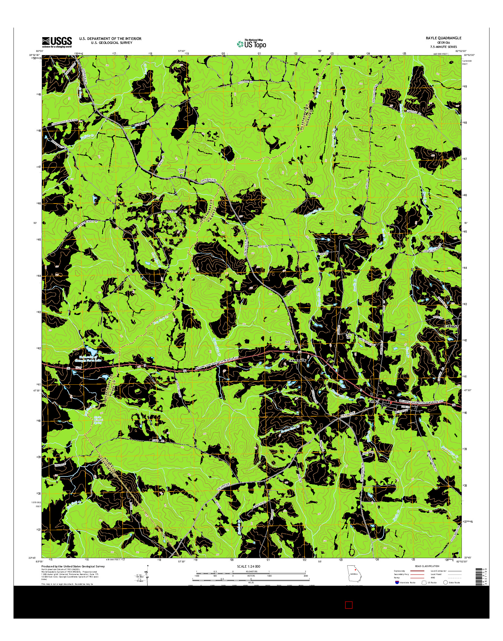 USGS US TOPO 7.5-MINUTE MAP FOR RAYLE, GA 2014