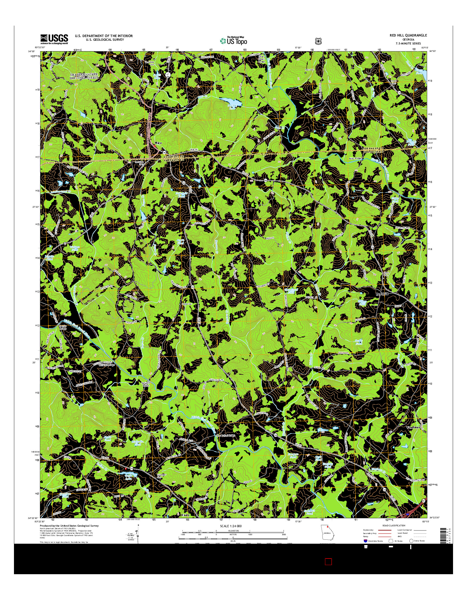 USGS US TOPO 7.5-MINUTE MAP FOR RED HILL, GA 2014