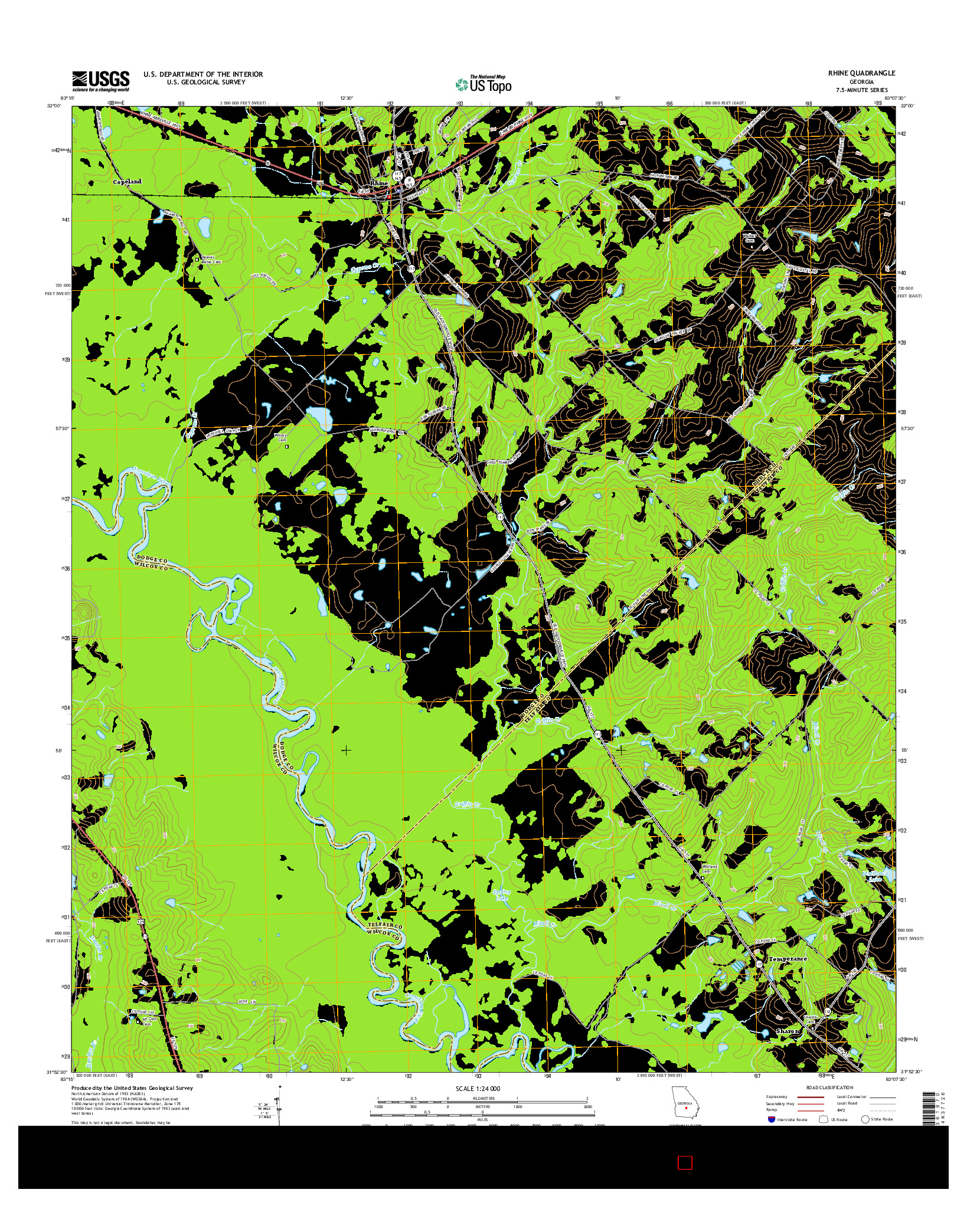 USGS US TOPO 7.5-MINUTE MAP FOR RHINE, GA 2014