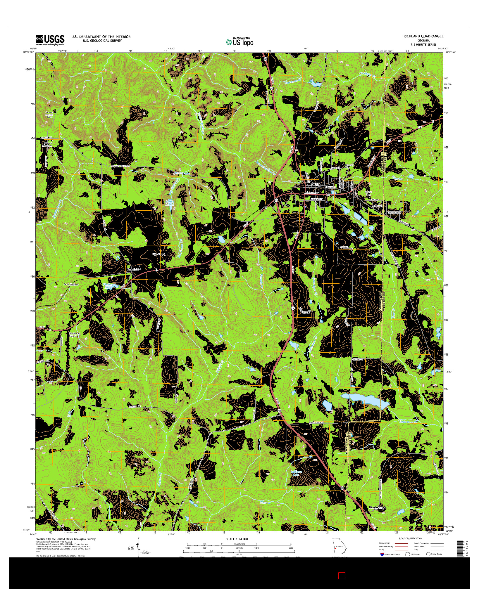 USGS US TOPO 7.5-MINUTE MAP FOR RICHLAND, GA 2014