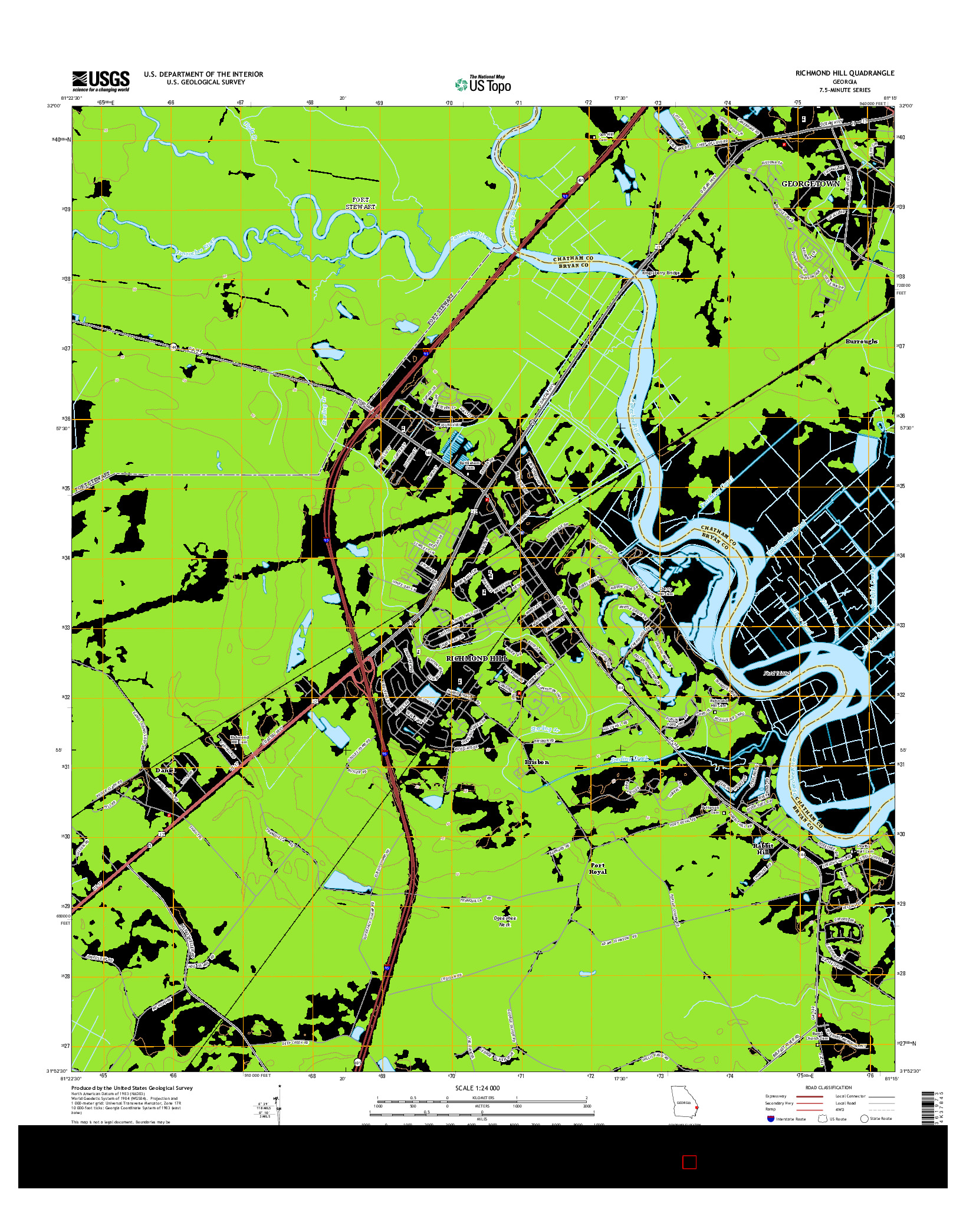 USGS US TOPO 7.5-MINUTE MAP FOR RICHMOND HILL, GA 2014