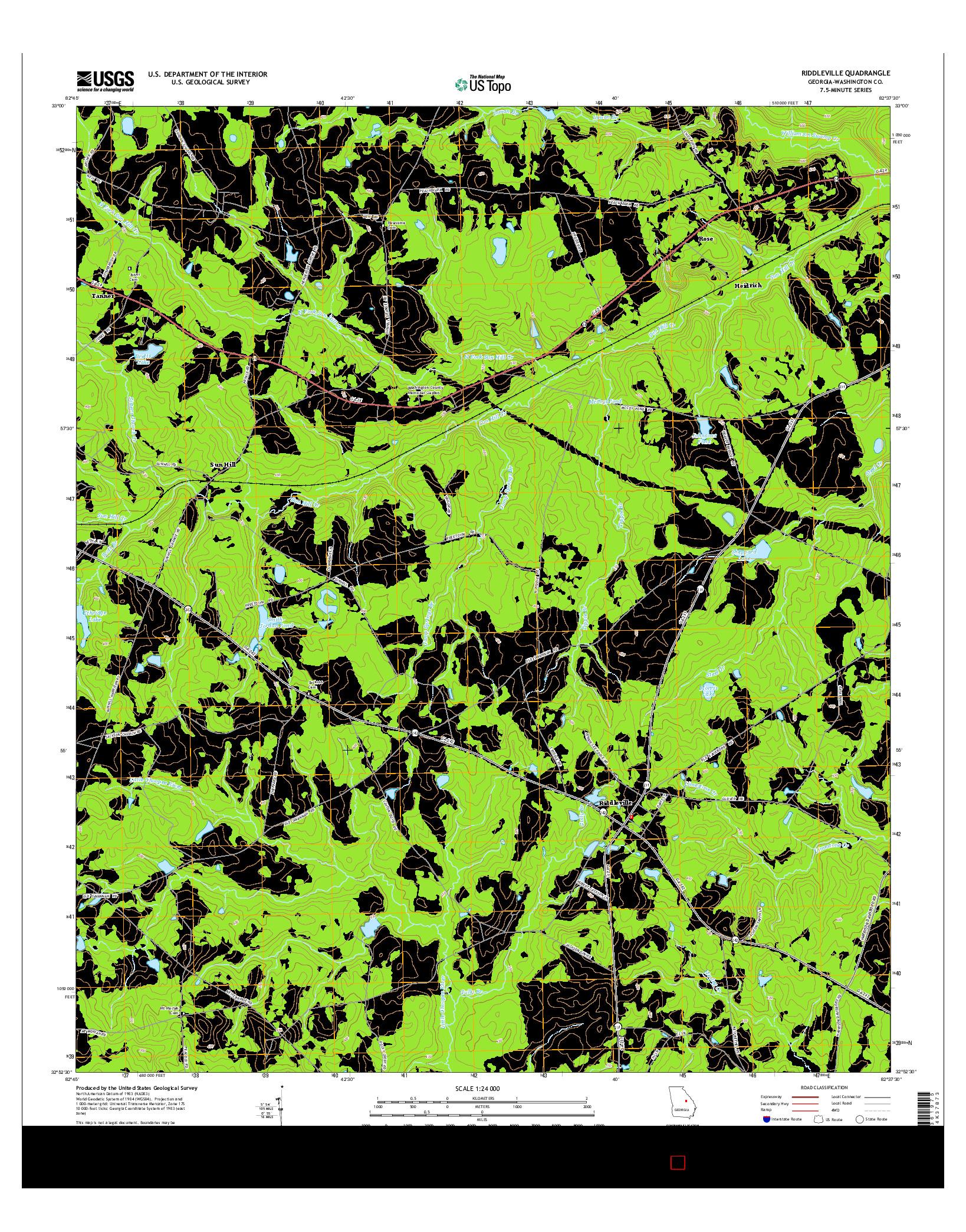 USGS US TOPO 7.5-MINUTE MAP FOR RIDDLEVILLE, GA 2014