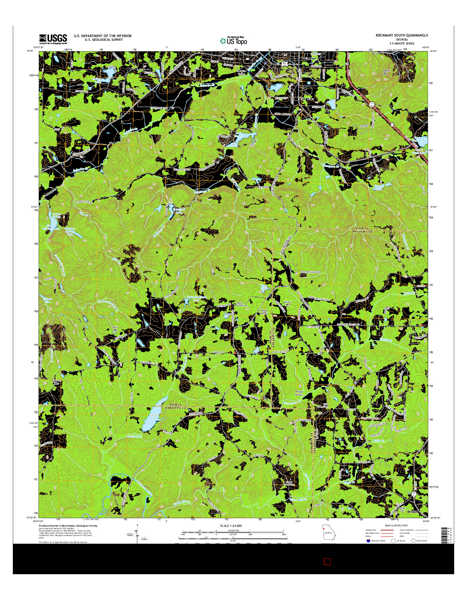 USGS US TOPO 7.5-MINUTE MAP FOR ROCKMART SOUTH, GA 2014