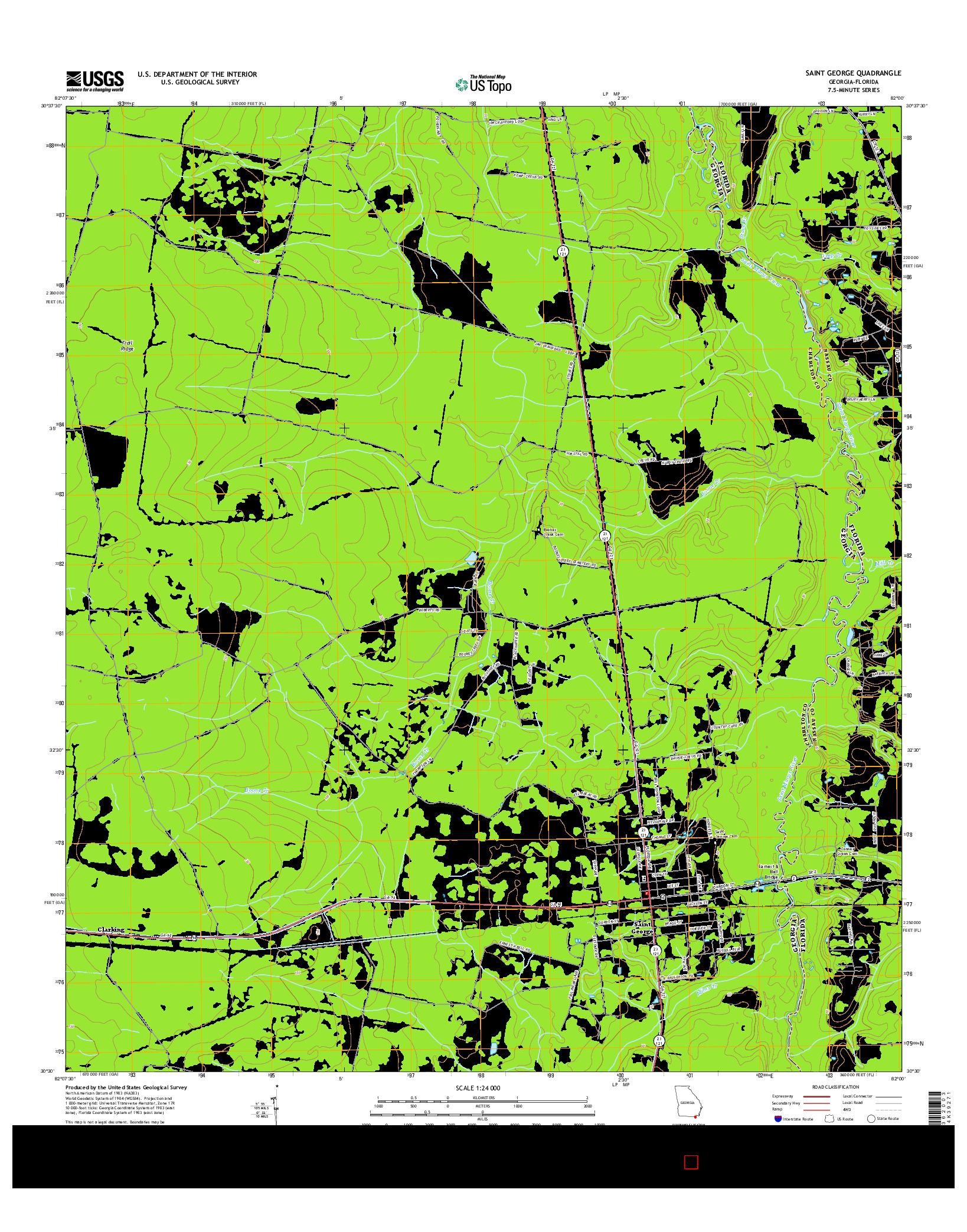 USGS US TOPO 7.5-MINUTE MAP FOR SAINT GEORGE, GA-FL 2014