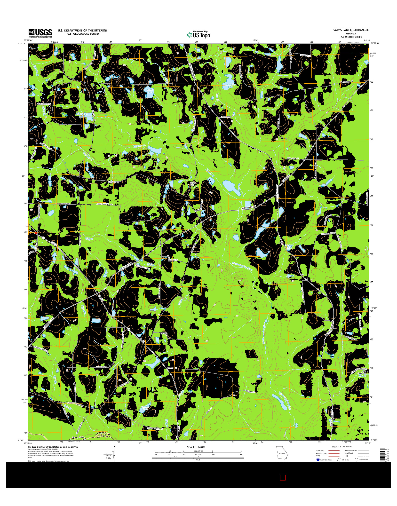 USGS US TOPO 7.5-MINUTE MAP FOR SAPPS LAKE, GA 2014