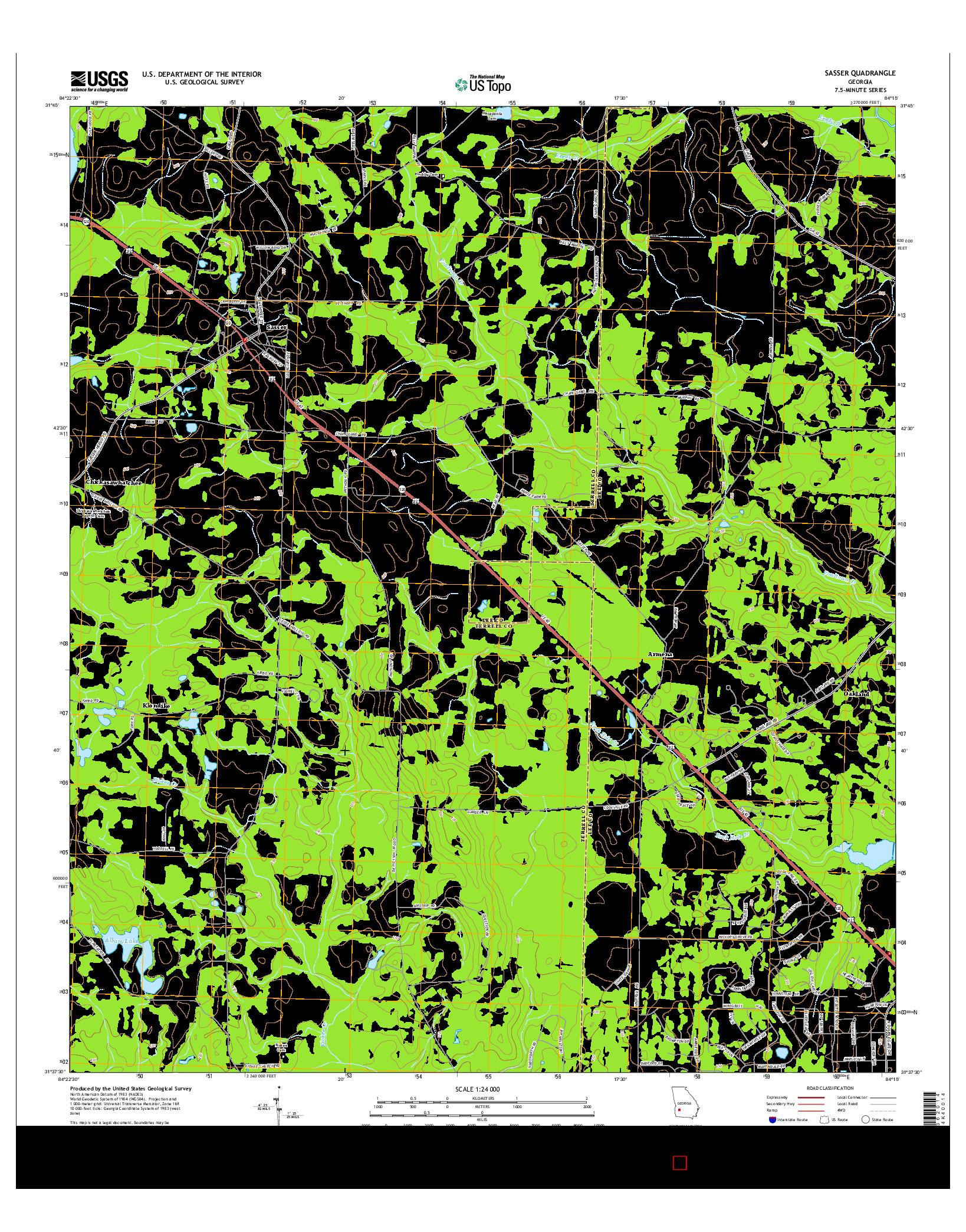 USGS US TOPO 7.5-MINUTE MAP FOR SASSER, GA 2014