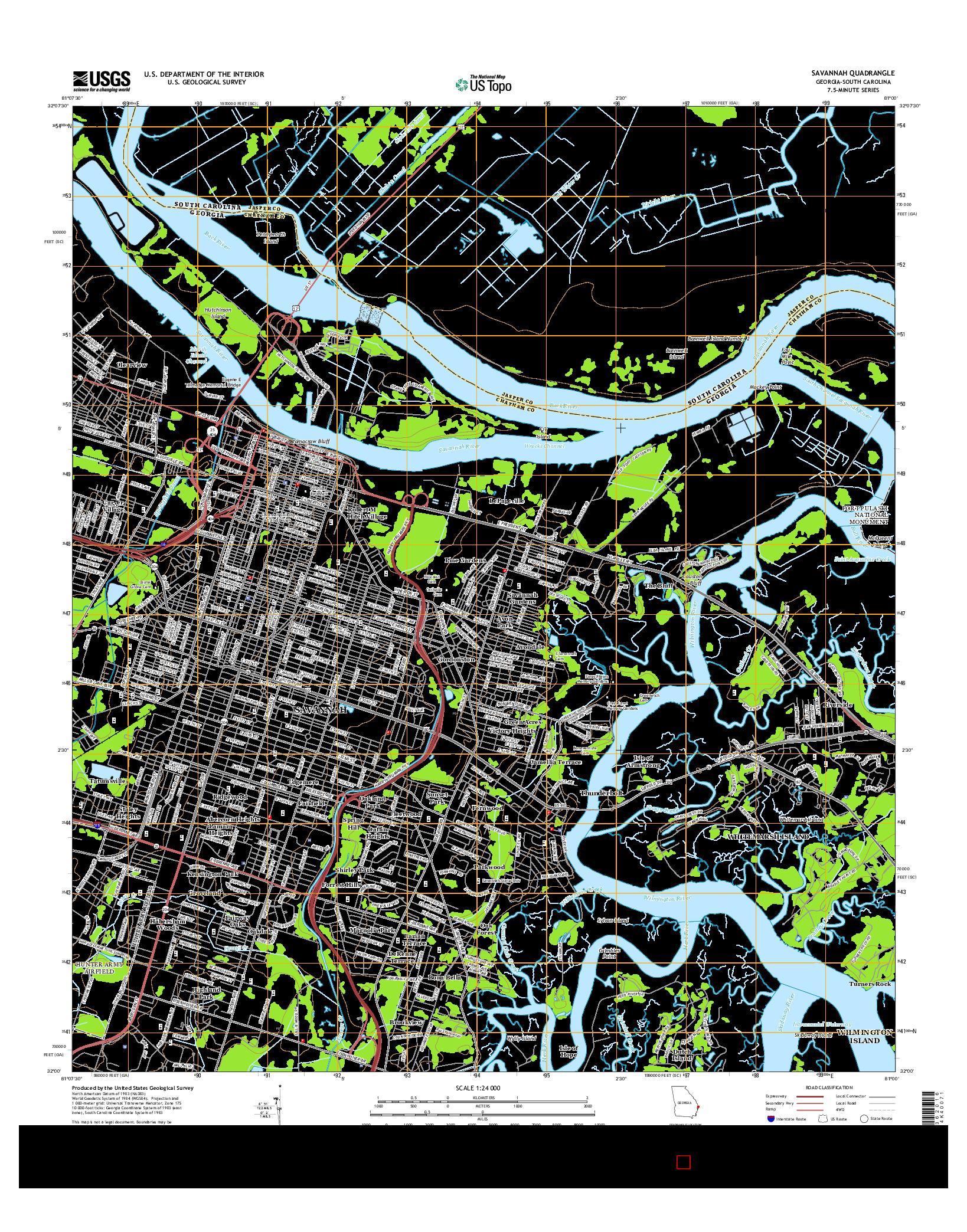 USGS US TOPO 7.5-MINUTE MAP FOR SAVANNAH, GA-SC 2014