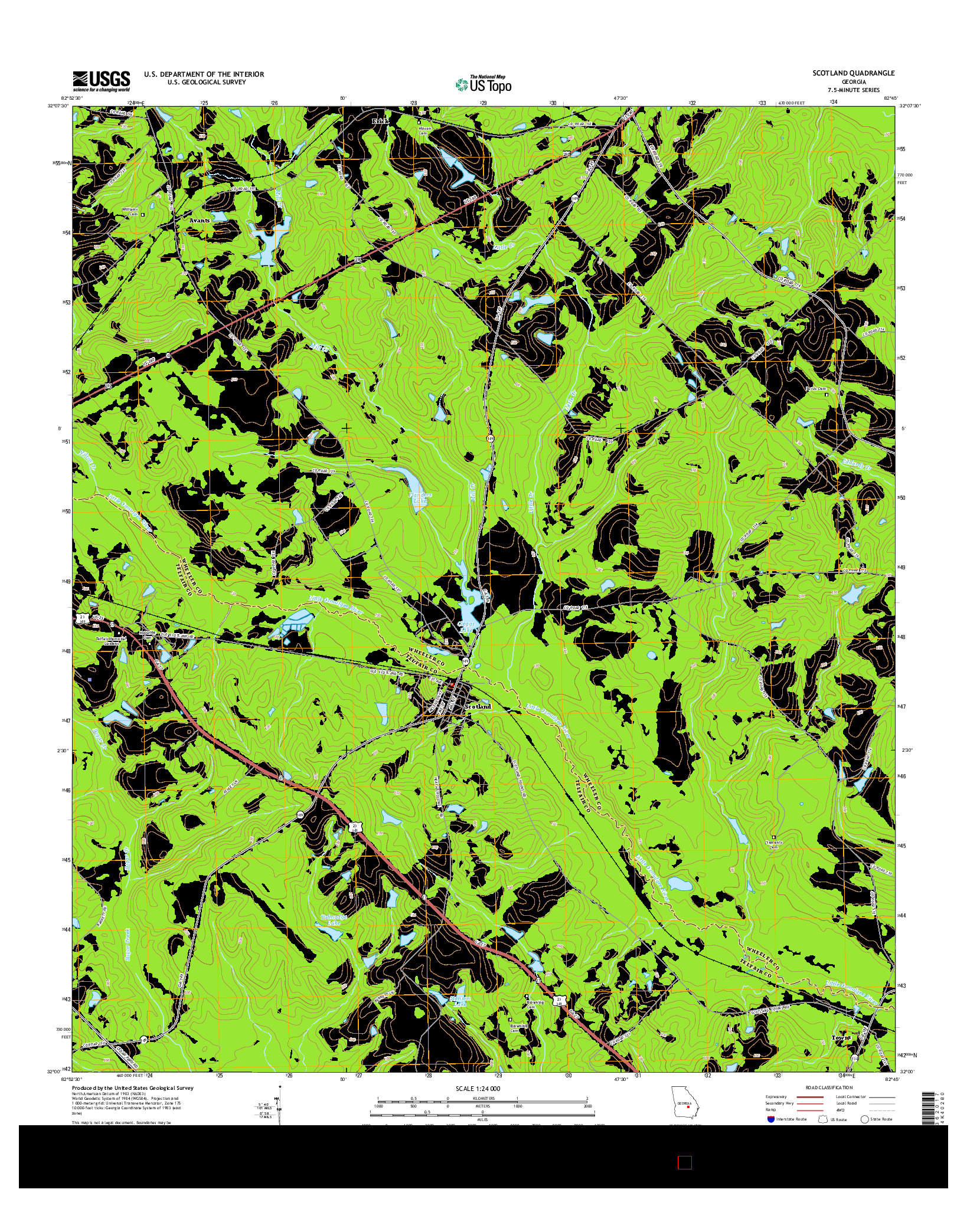 USGS US TOPO 7.5-MINUTE MAP FOR SCOTLAND, GA 2014