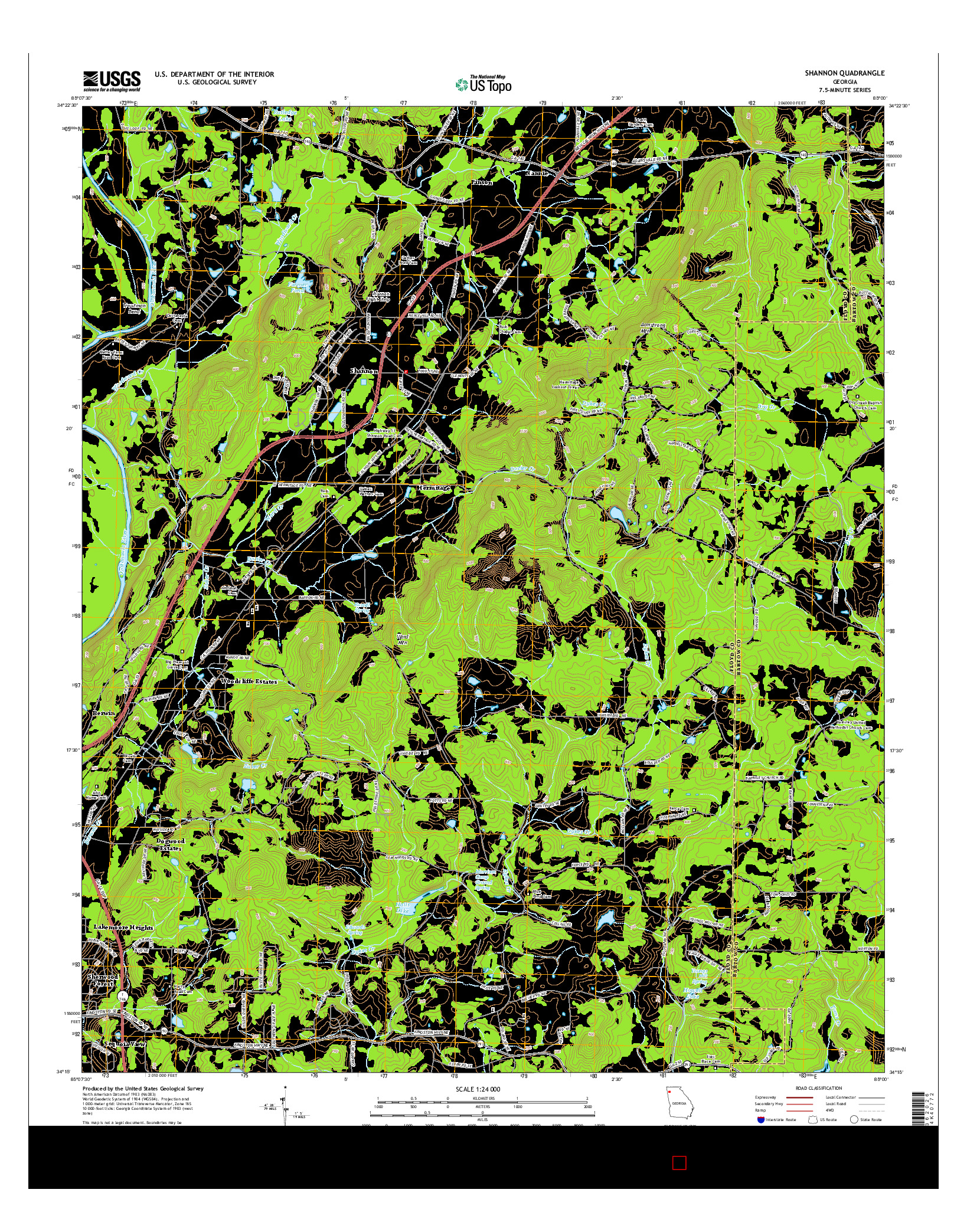 USGS US TOPO 7.5-MINUTE MAP FOR SHANNON, GA 2014