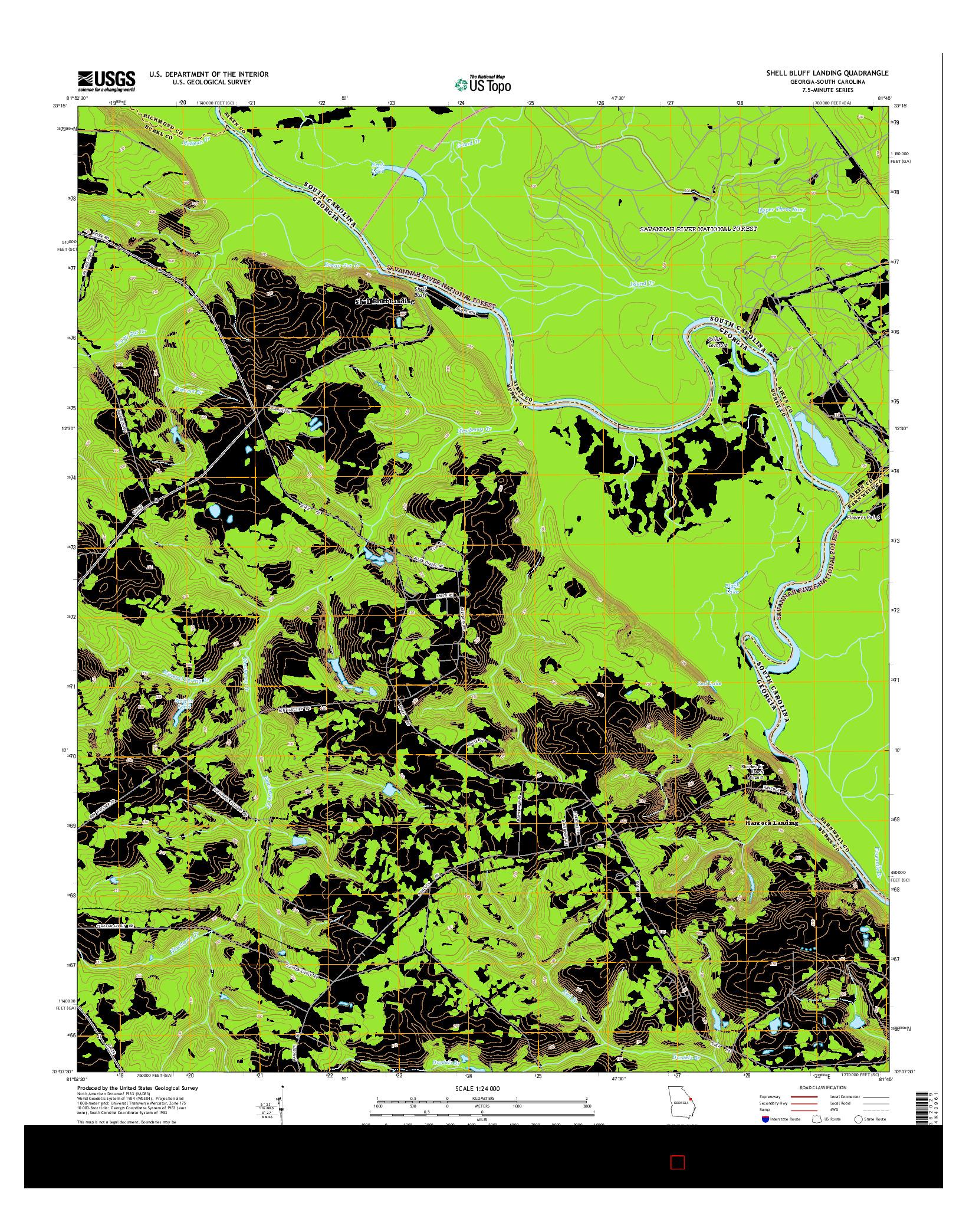USGS US TOPO 7.5-MINUTE MAP FOR SHELL BLUFF LANDING, GA-SC 2014