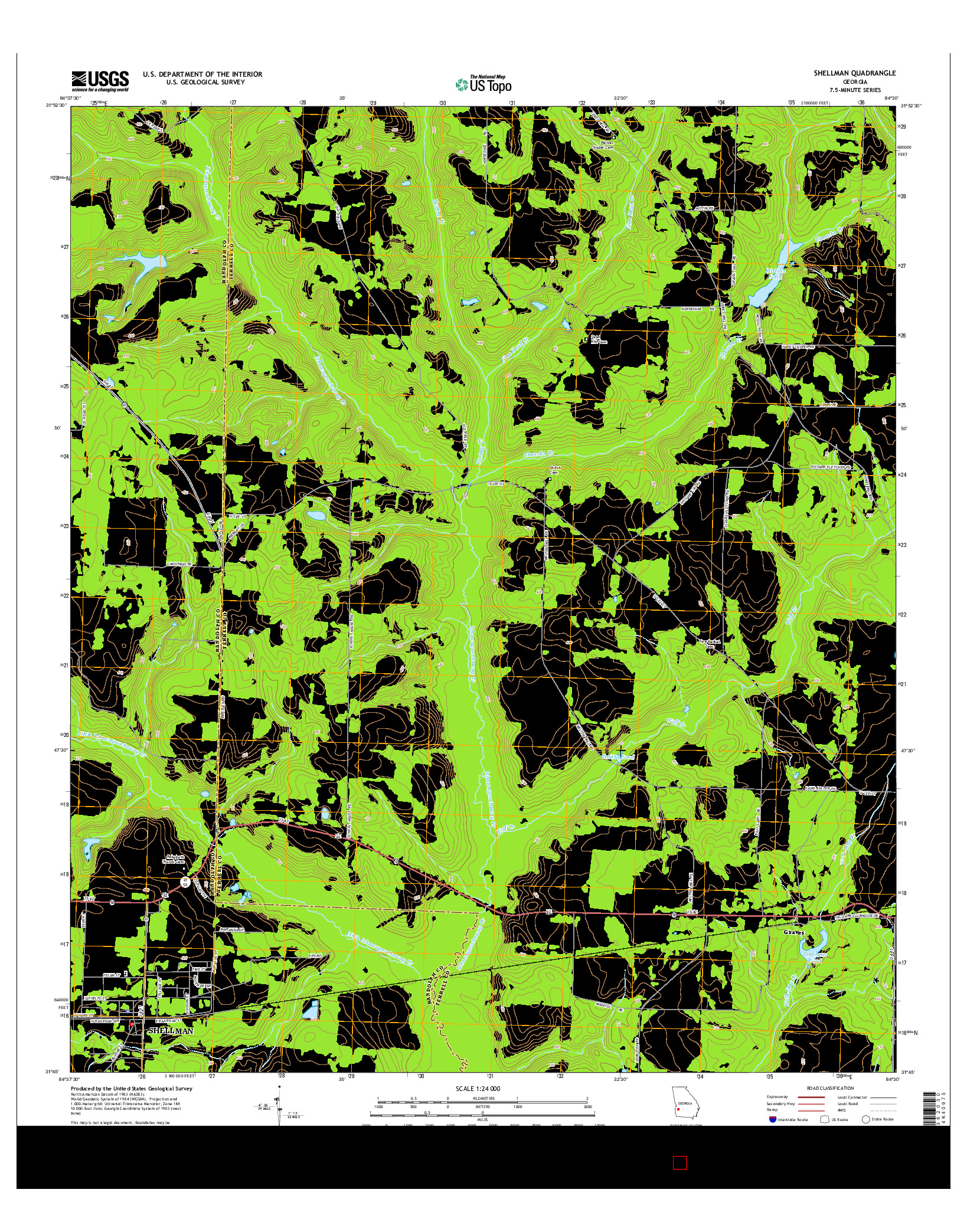 USGS US TOPO 7.5-MINUTE MAP FOR SHELLMAN, GA 2014