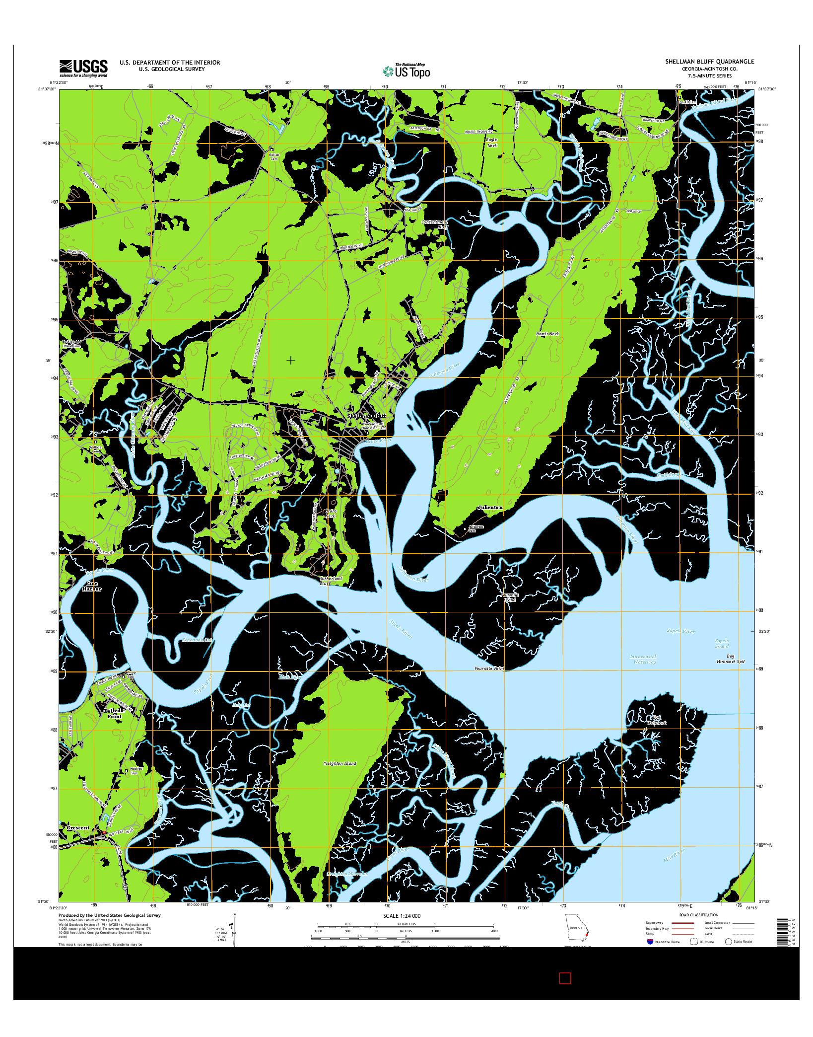 USGS US TOPO 7.5-MINUTE MAP FOR SHELLMAN BLUFF, GA 2014