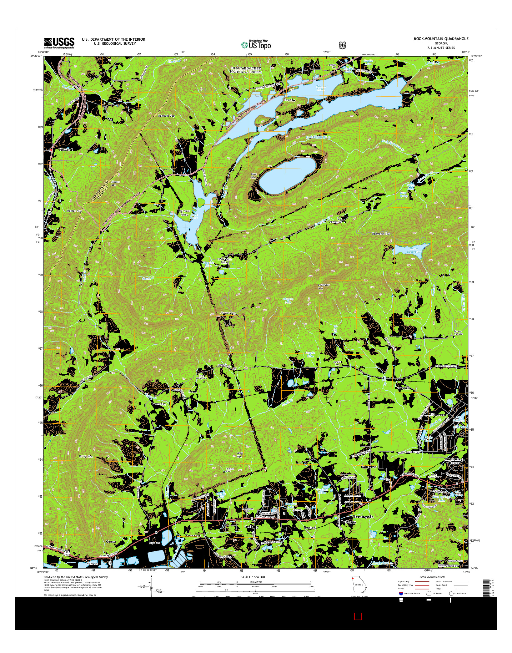 USGS US TOPO 7.5-MINUTE MAP FOR ROCK MOUNTAIN, GA 2014