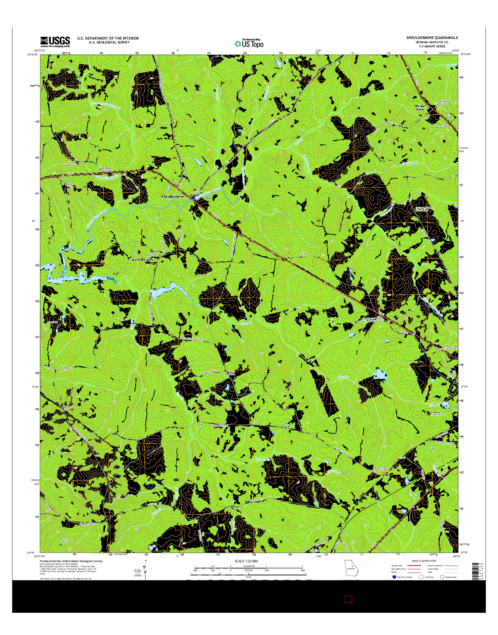USGS US TOPO 7.5-MINUTE MAP FOR SHOULDERBONE, GA 2014