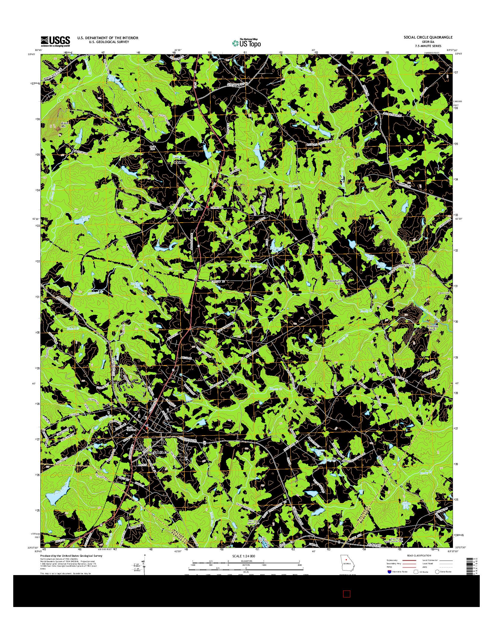 USGS US TOPO 7.5-MINUTE MAP FOR SOCIAL CIRCLE, GA 2014