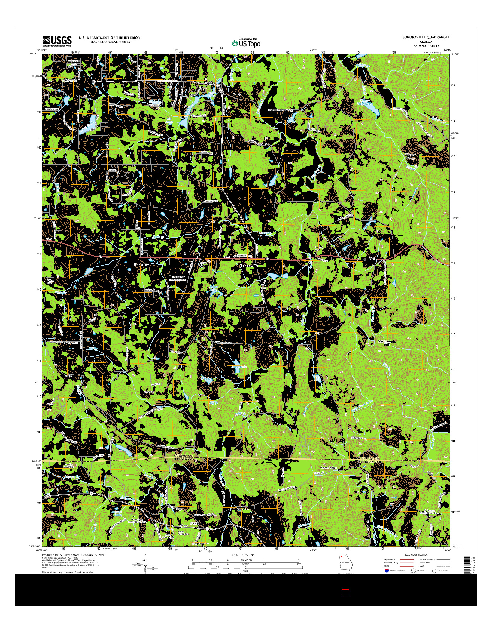 USGS US TOPO 7.5-MINUTE MAP FOR SONORAVILLE, GA 2014