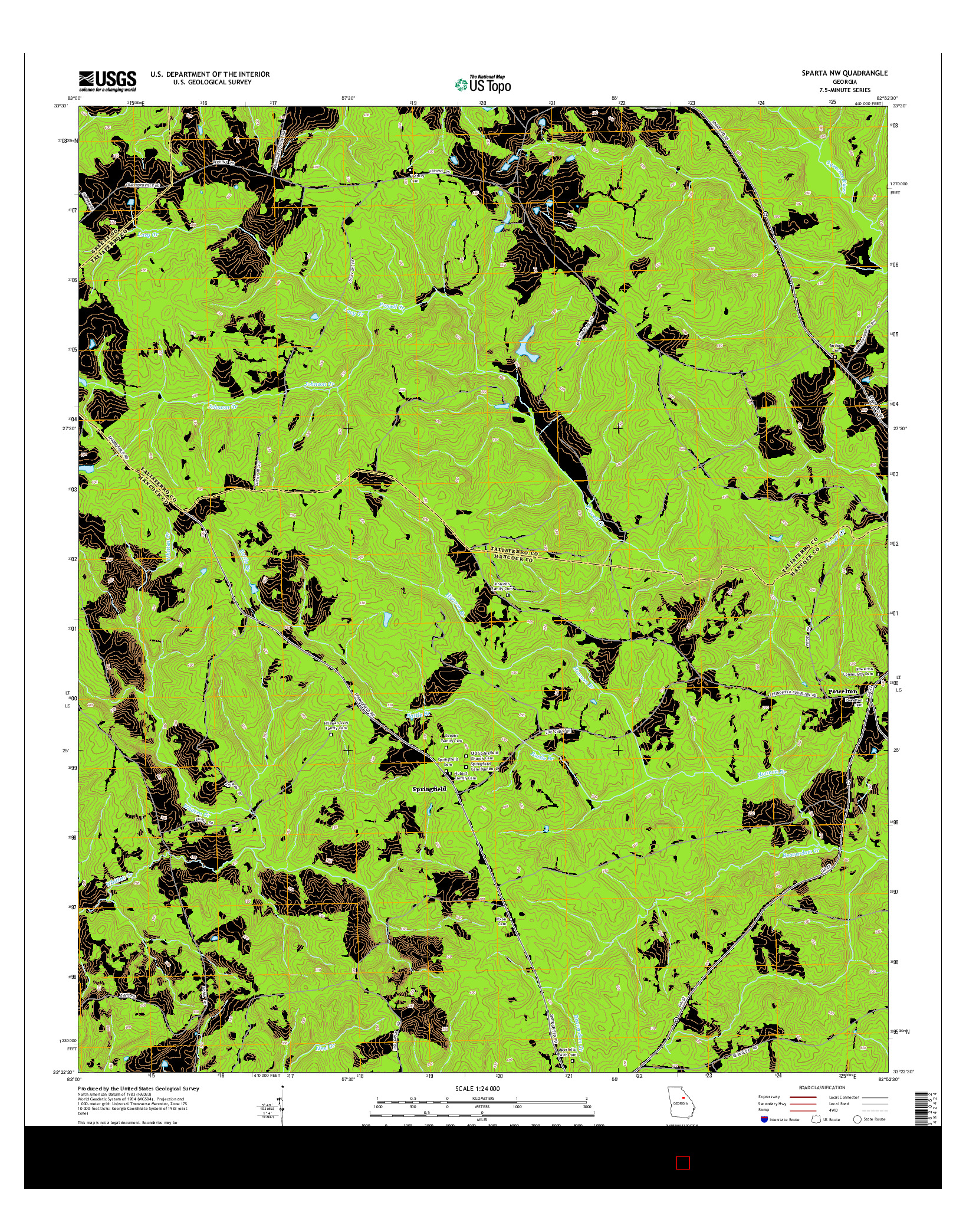 USGS US TOPO 7.5-MINUTE MAP FOR SPARTA NW, GA 2014